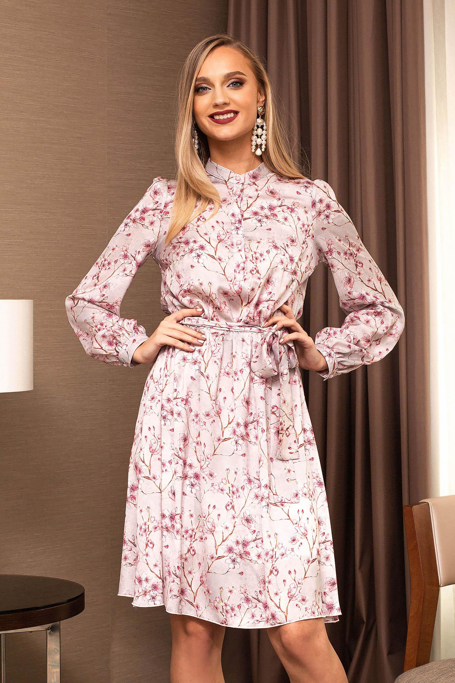 Púder rózsaszínű ruha muszlinból harang midi irodai övvel ellátva virágmintás díszítéssel