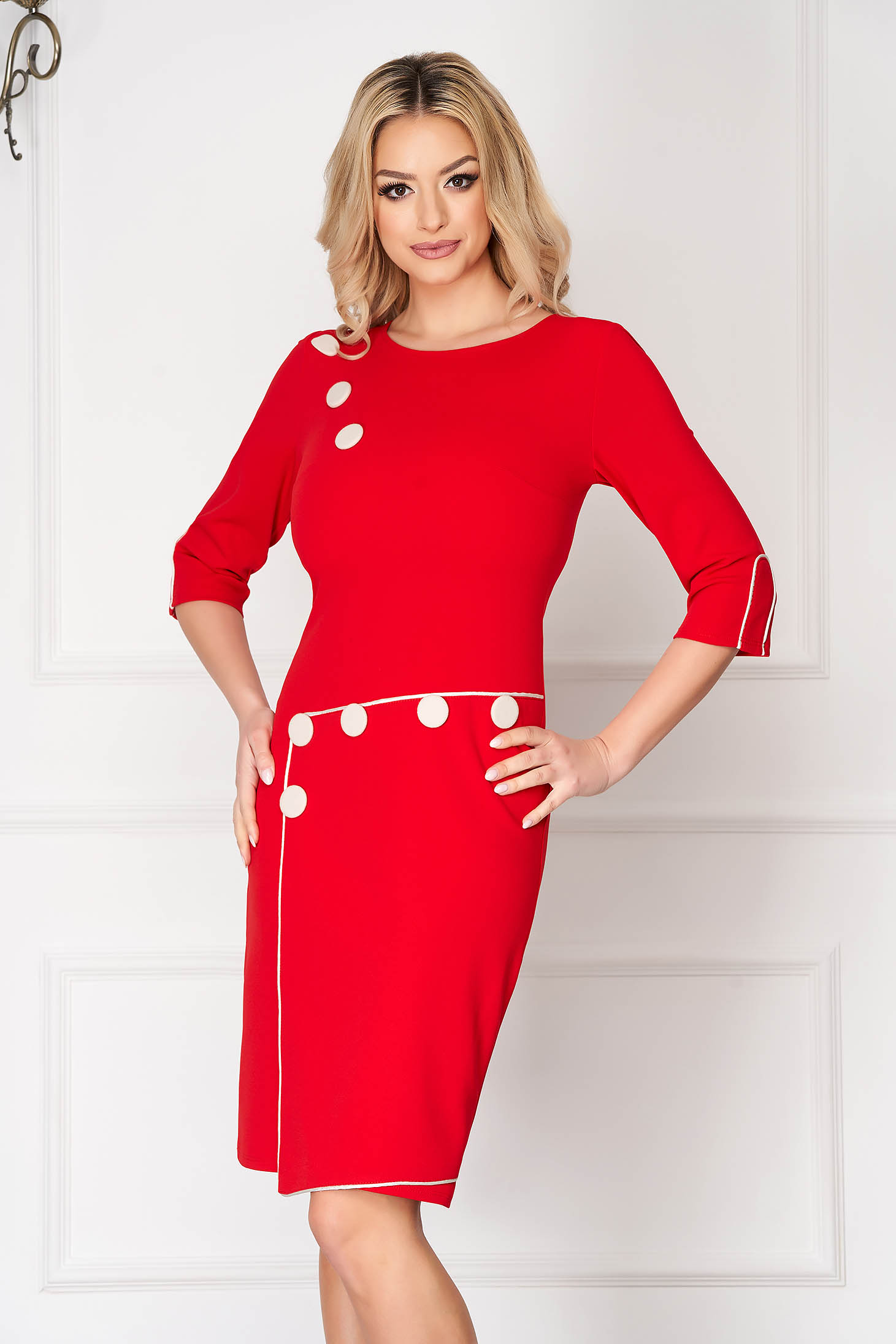 Red daily dress straight short cut with button accessories
