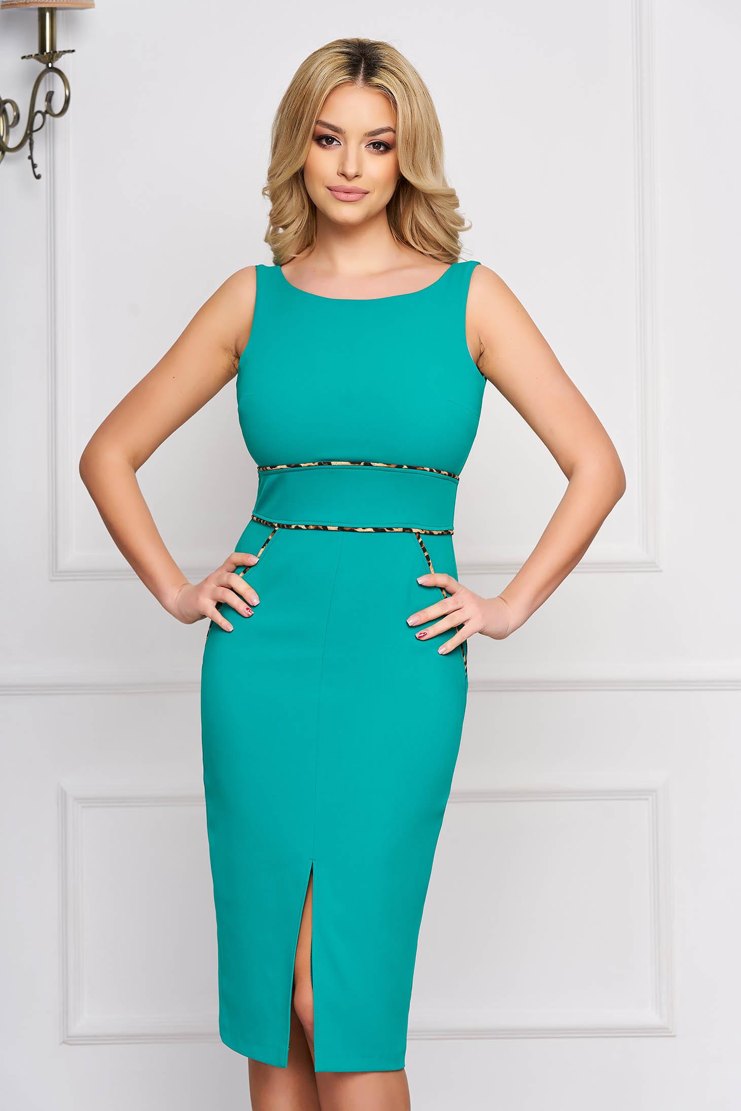 StarShinerS green elegant midi pencil dress cloth velvet insertions