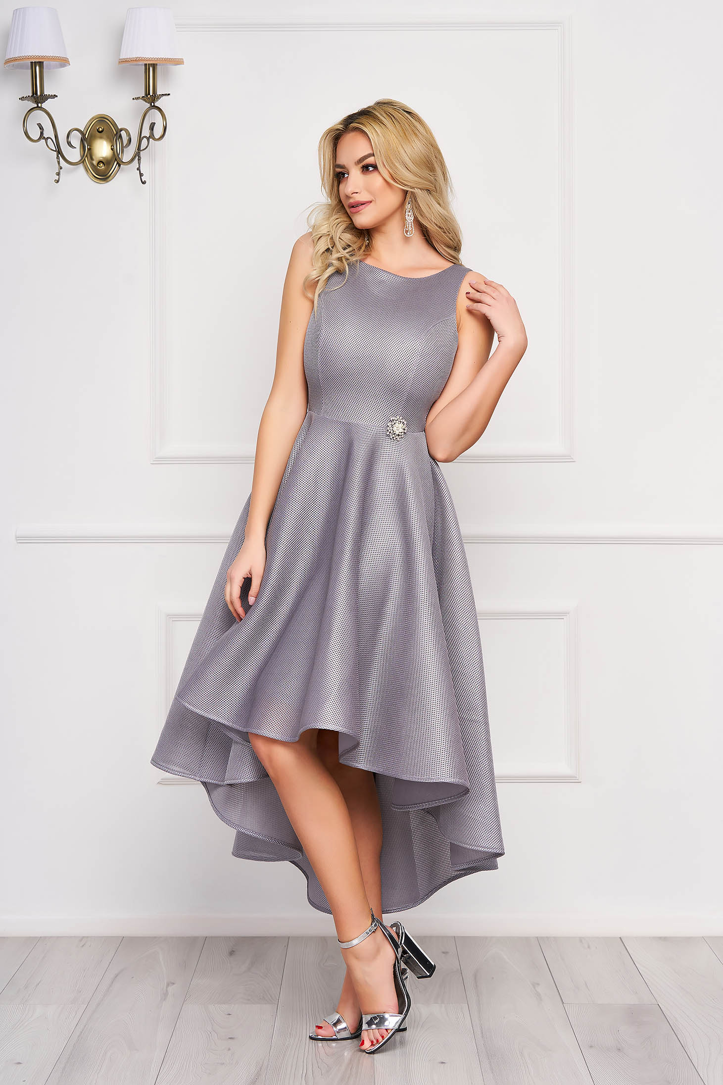 StarShinerS grey dress occasional cloche asymmetrical sleeveless with embellished accessories