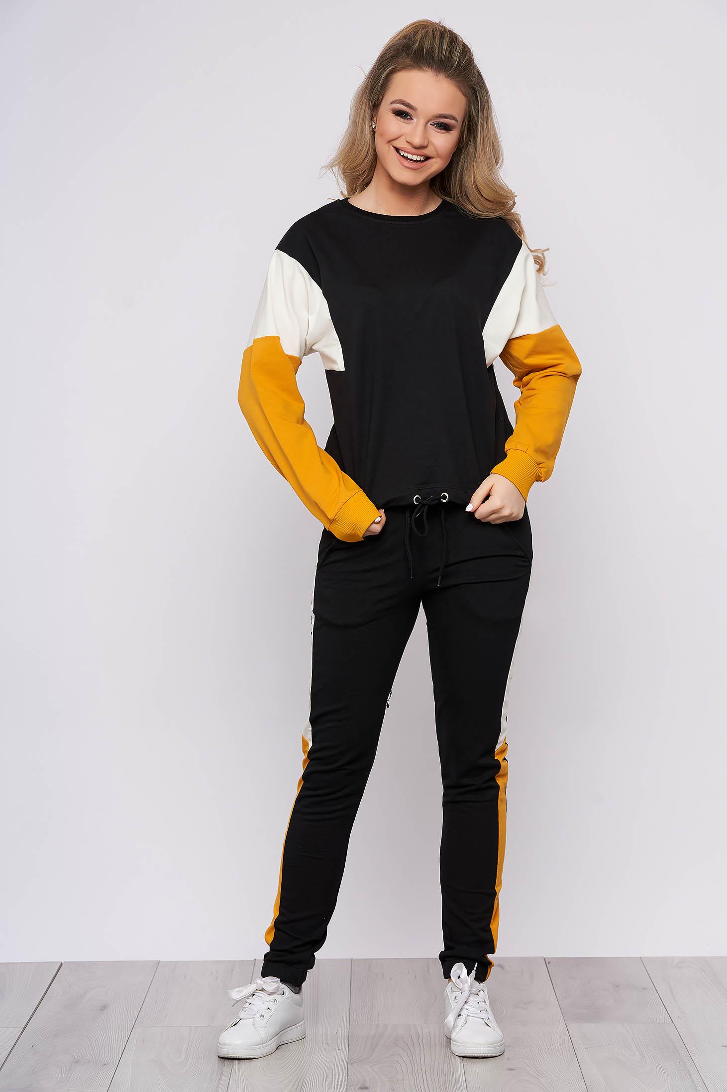 Trening dama SunShine mustariu sport din bumbac din doua piese cu pantaloni si bluza