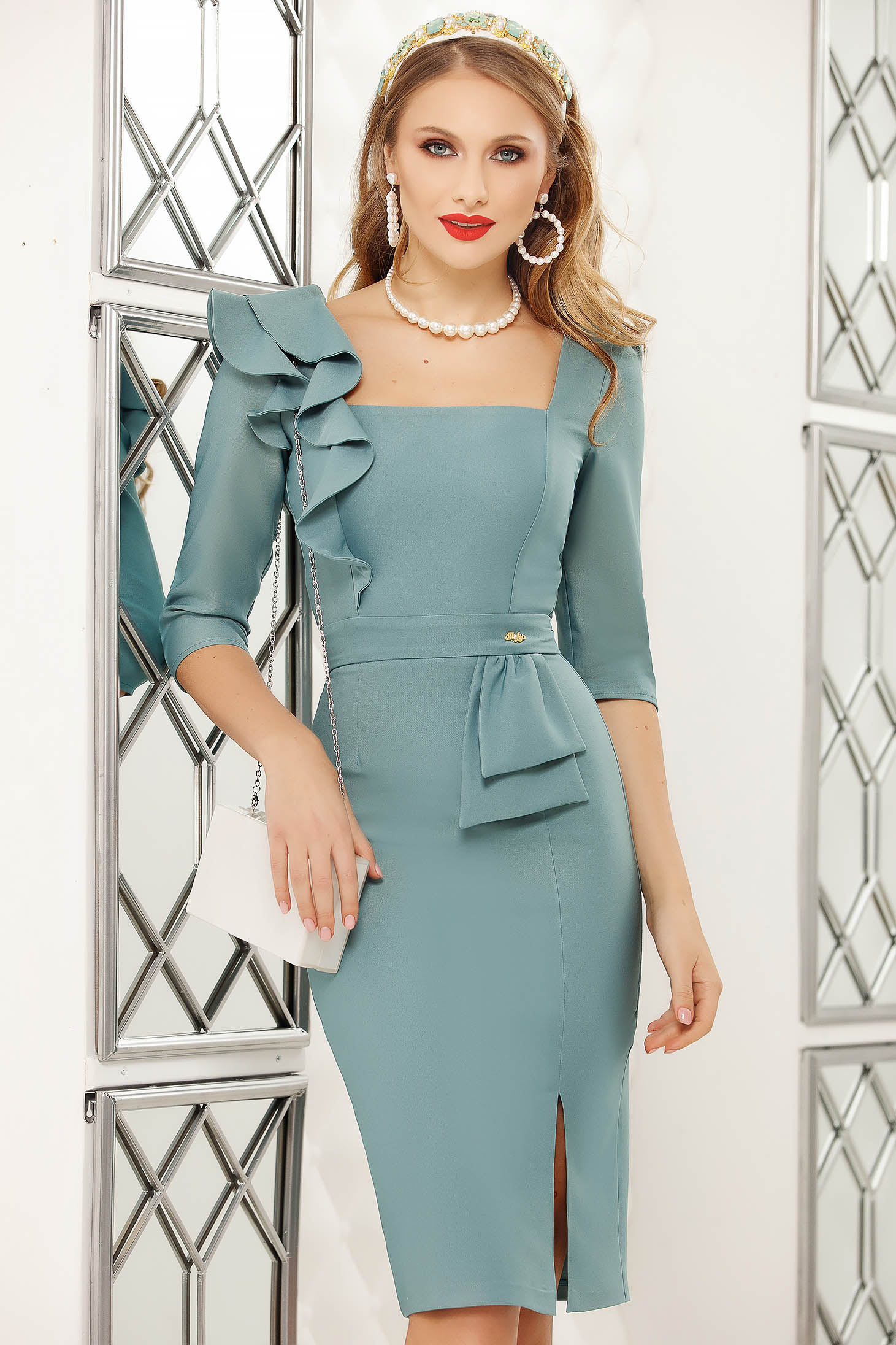 Turquoise dress midi pencil office with ruffle details cloth