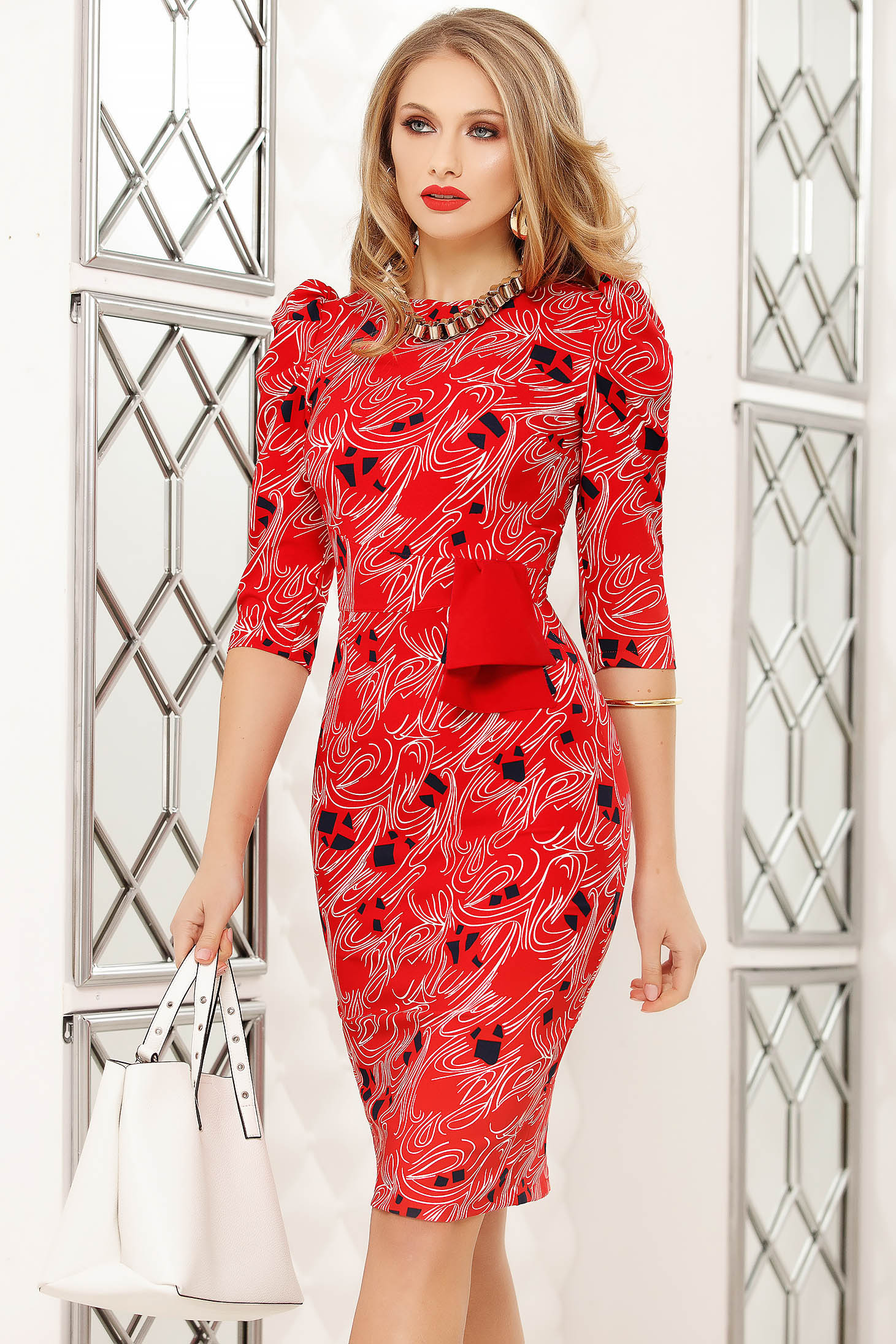 Red dress pencil midi office bow accessory with graphic details