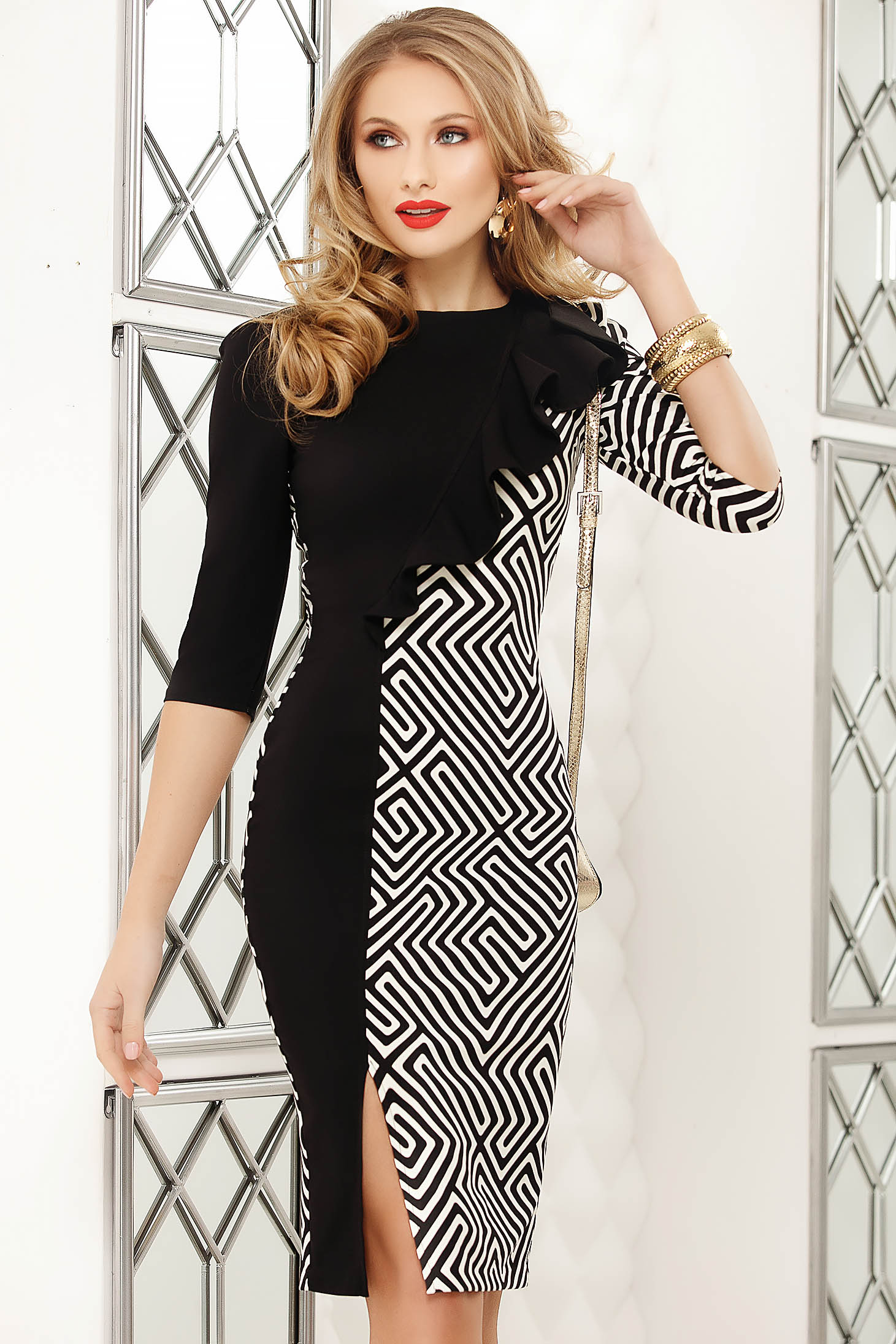 Black dress pencil midi slit with ruffles on the chest office with graphic details