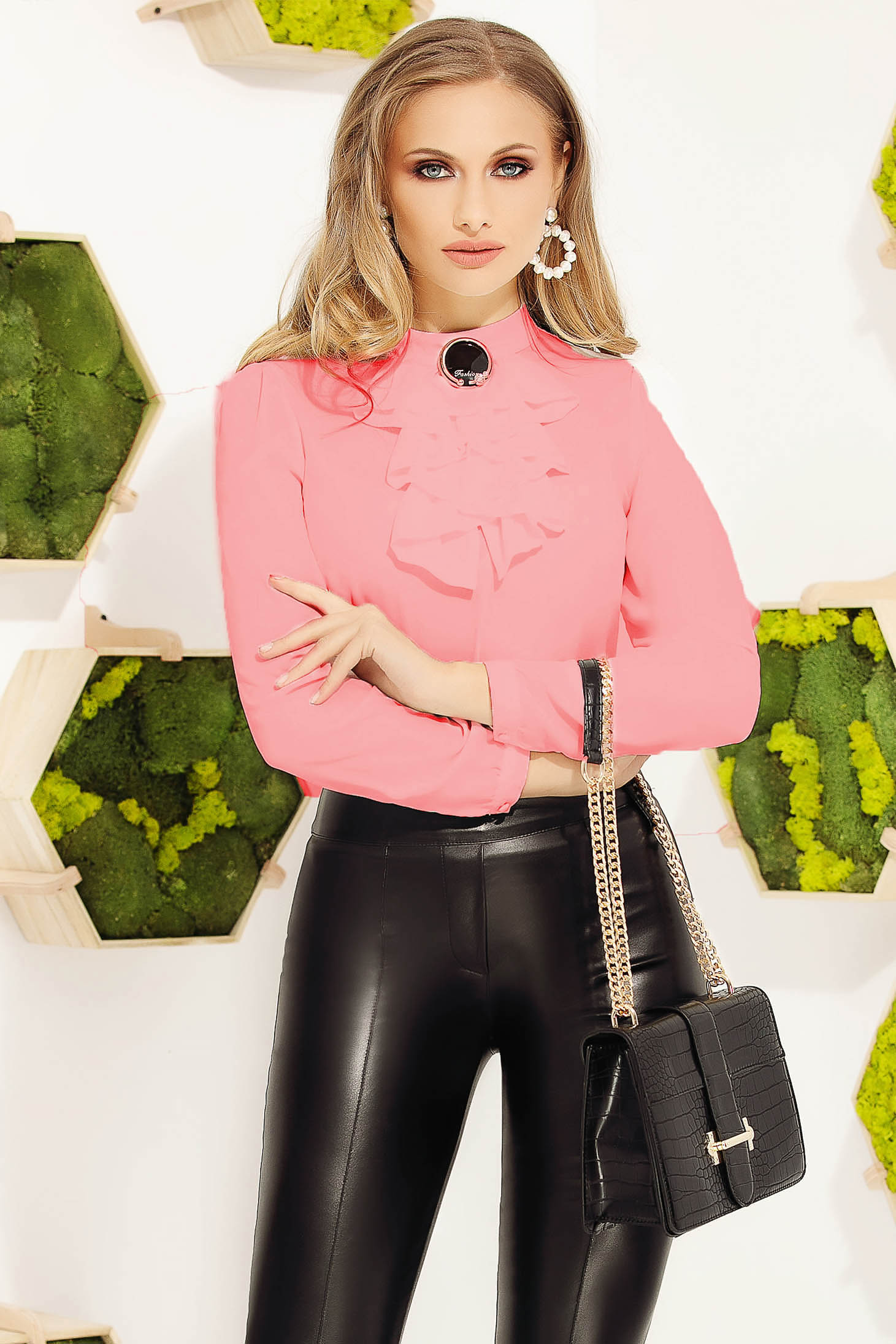 Pink women`s blouse office elegant with tented cut accessorized with breastpin