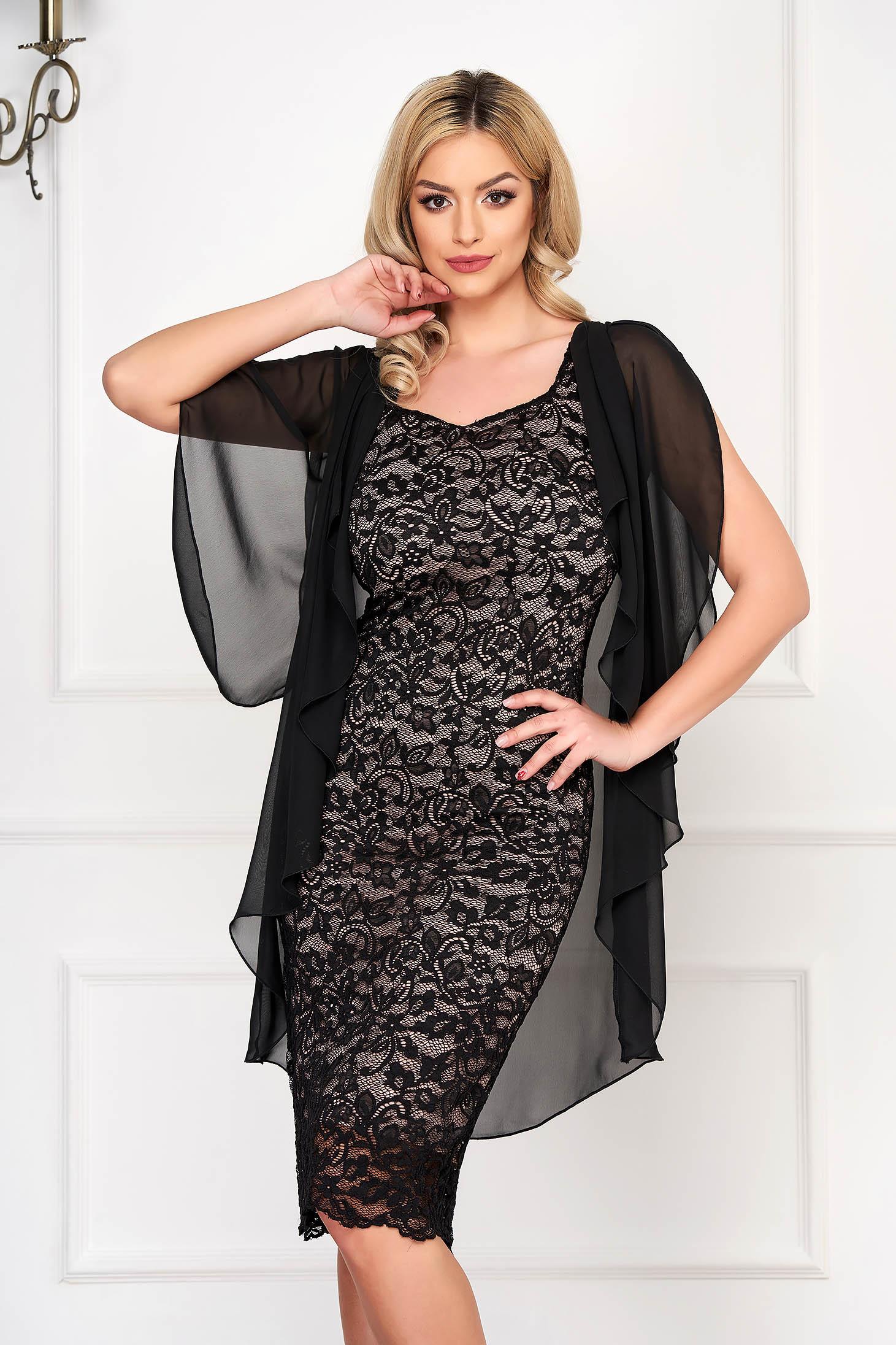 StarShinerS black dress elegant midi pencil voile overlay laced