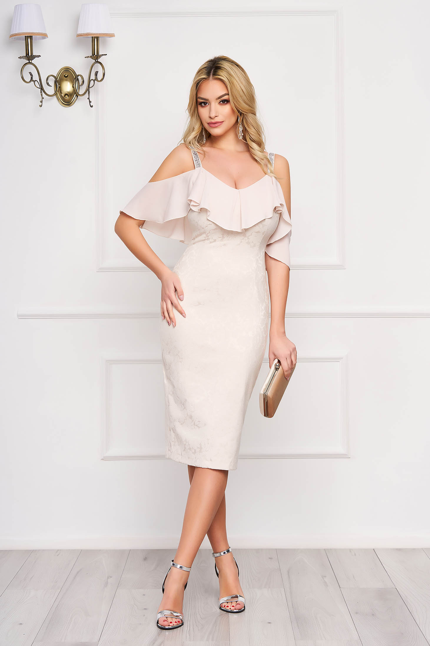 Dress StarShinerS cream occasional midi pencil jacquard with ruffle details from veil fabric
