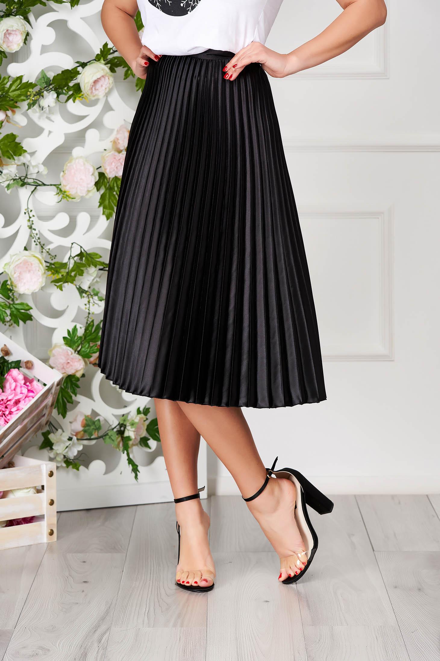 StarShinerS black skirt elegant cloche midi from satin folded up
