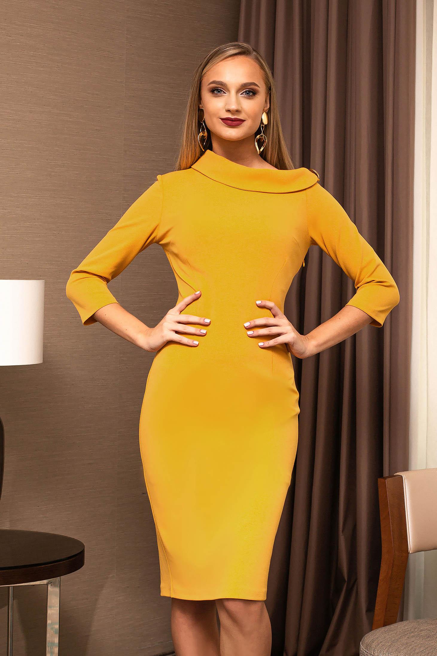 Mustard dress office elegant pencil with 3/4 sleeves back slit