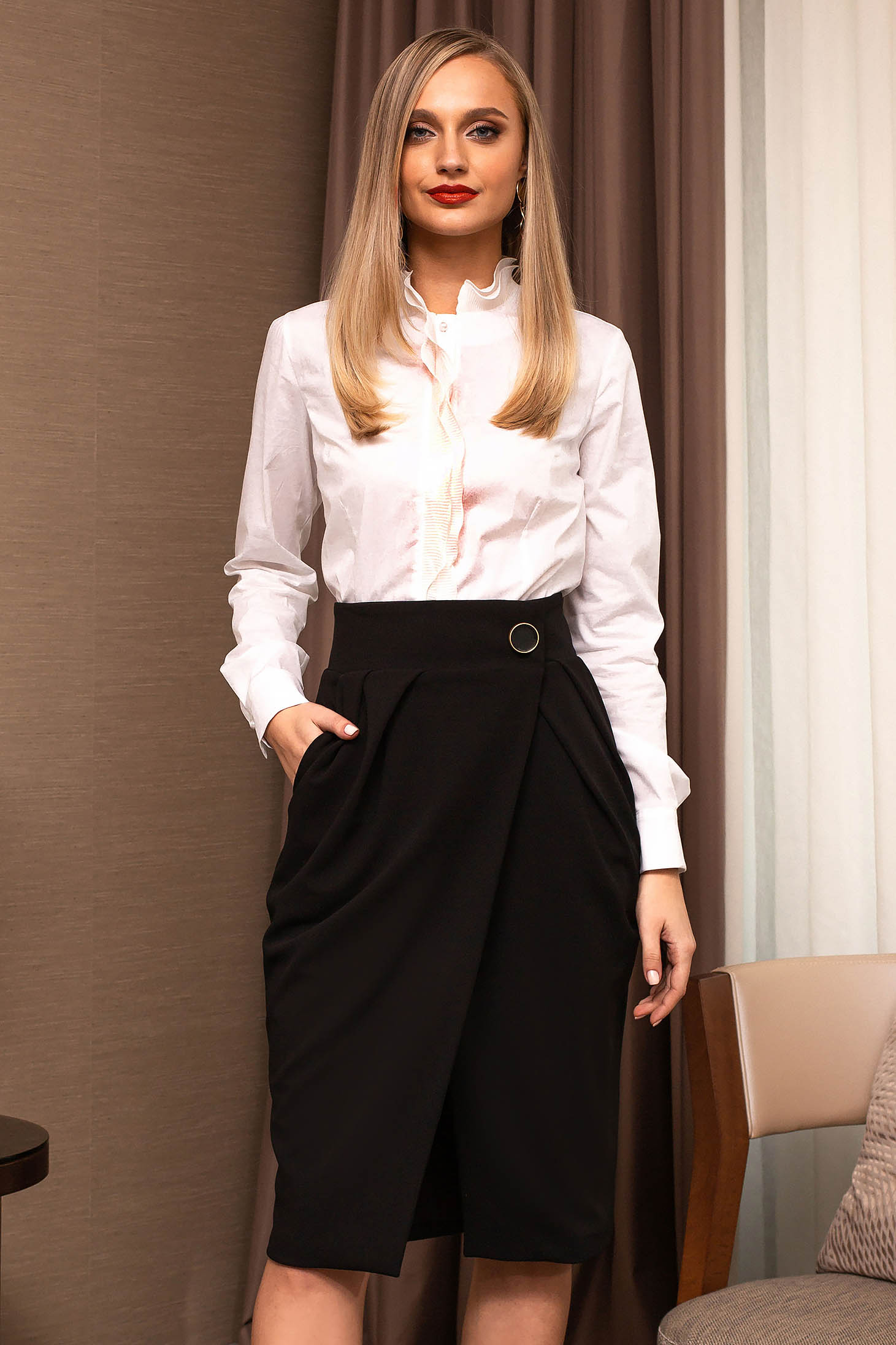 Black skirt office midi with pockets wrap over skirt cloth pencil