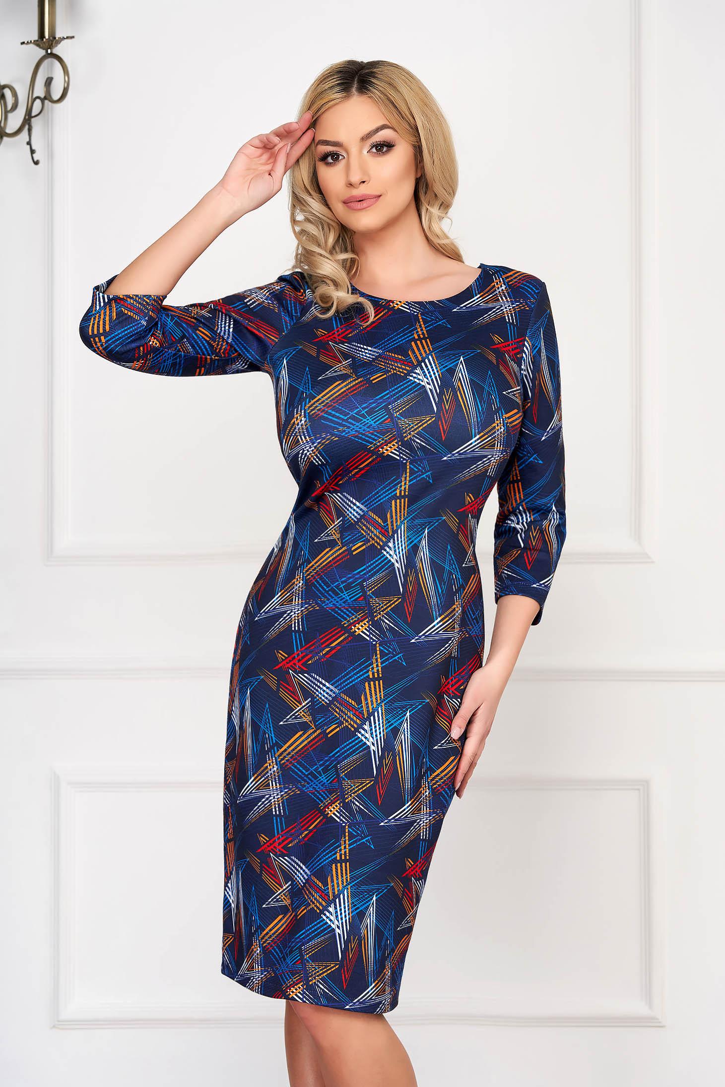 Rochie albastru-inchis eleganta midi tip creion din bumbac cu maneca lunga si imprimeuri