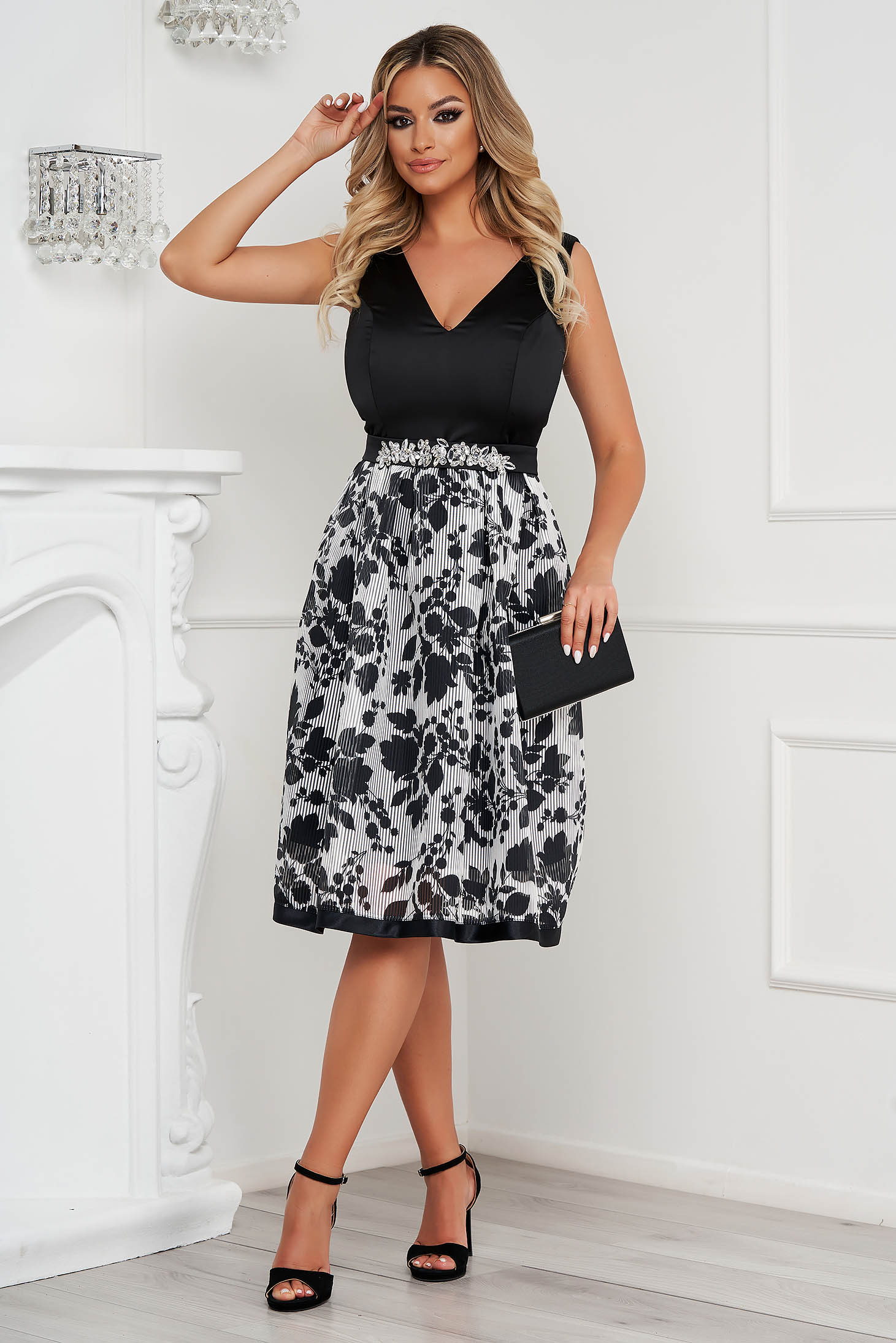 Dress StarShinerS black occasional cloche accessorized with tied waistband midi from satin from veil fabric
