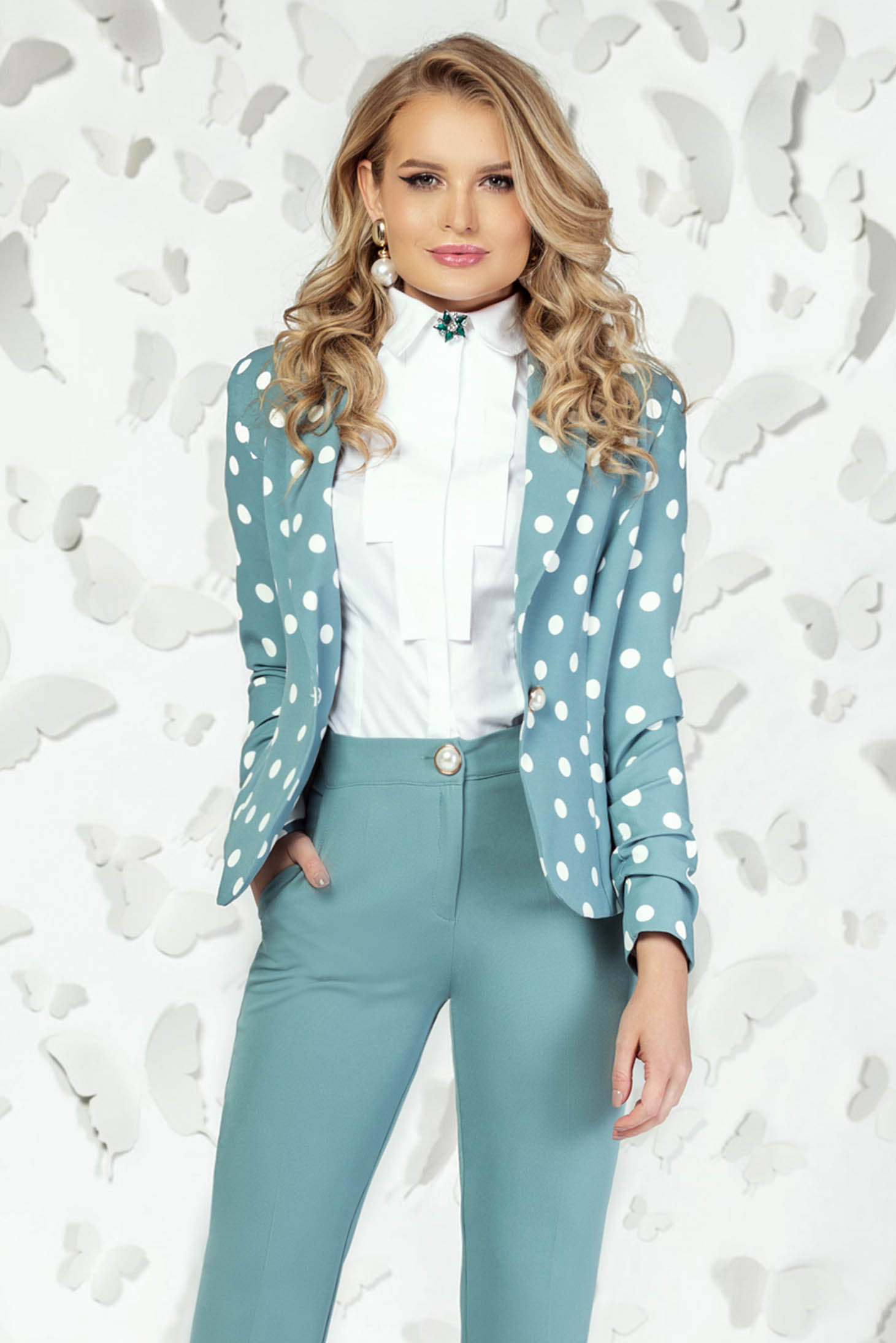 Jacket turquoise elegant long sleeved dots print