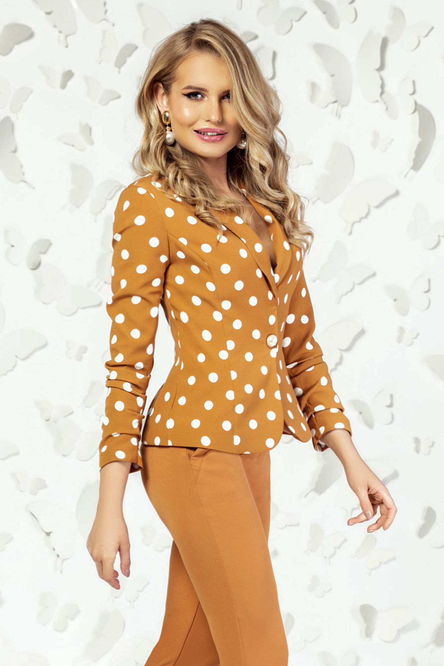 Jacket mustard elegant long sleeved dots print