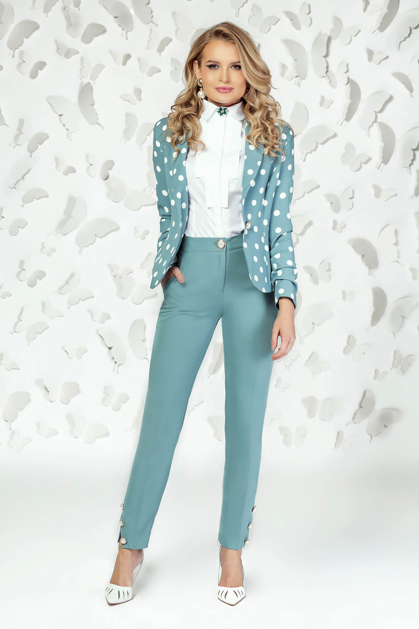 Turquoise trousers elegant straight medium waist with pockets