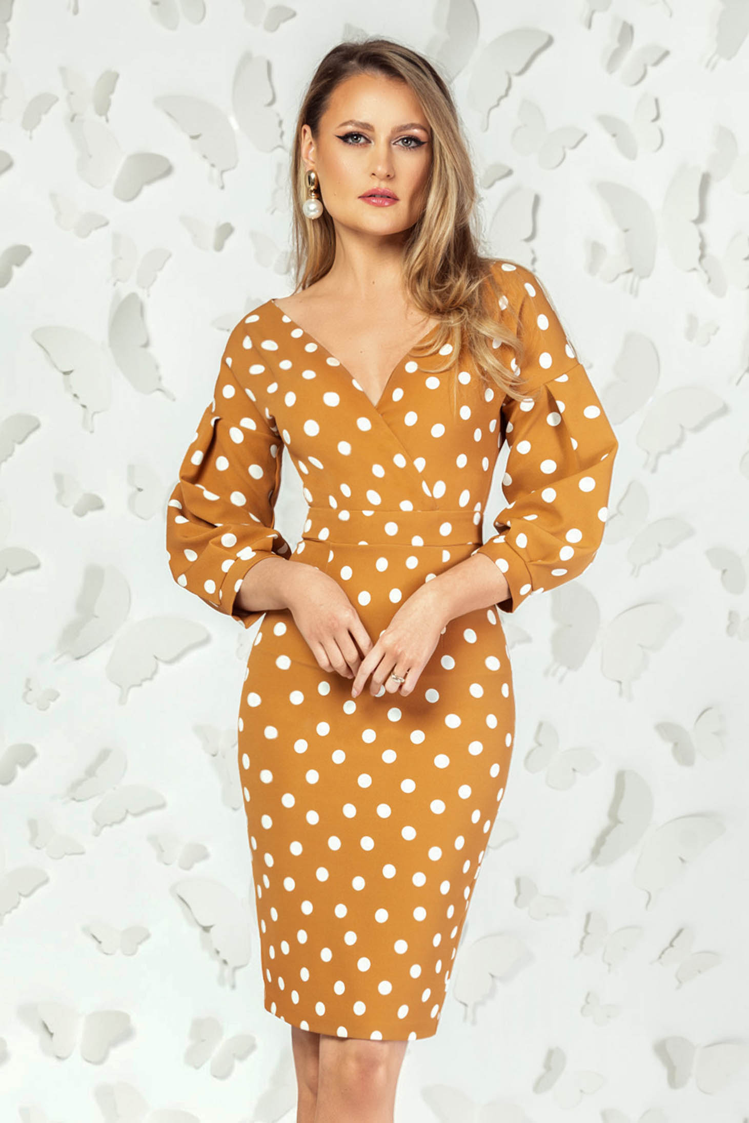 Mustard dress office pencil with deep cleavage with puffed sleeves dots print