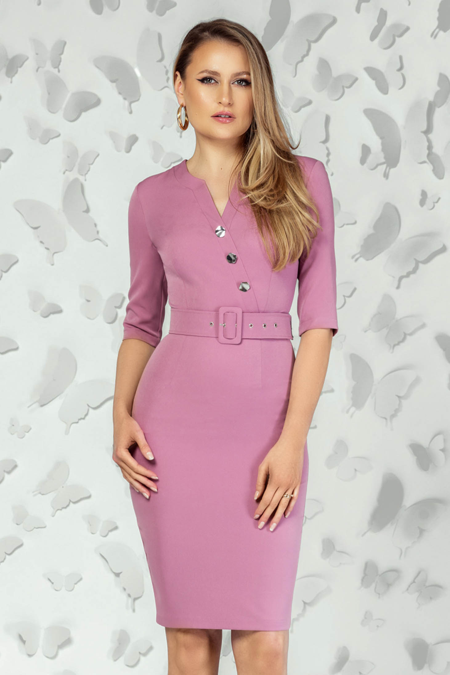 Pink dress office short cut pencil with v-neckline back slit accessorized with belt