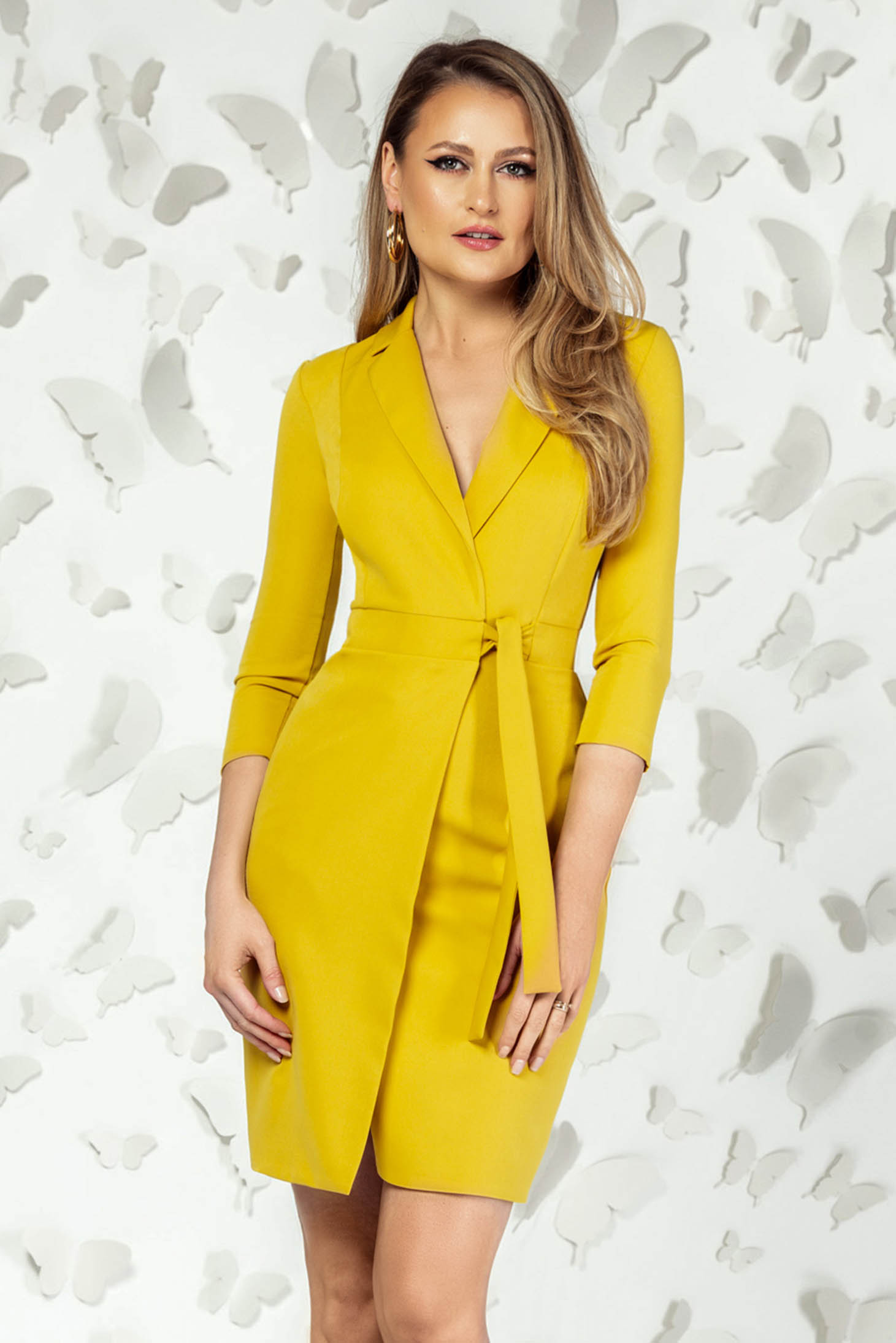 Yellow dress elegant short cut pencil with v-neckline with 3/4 sleeves