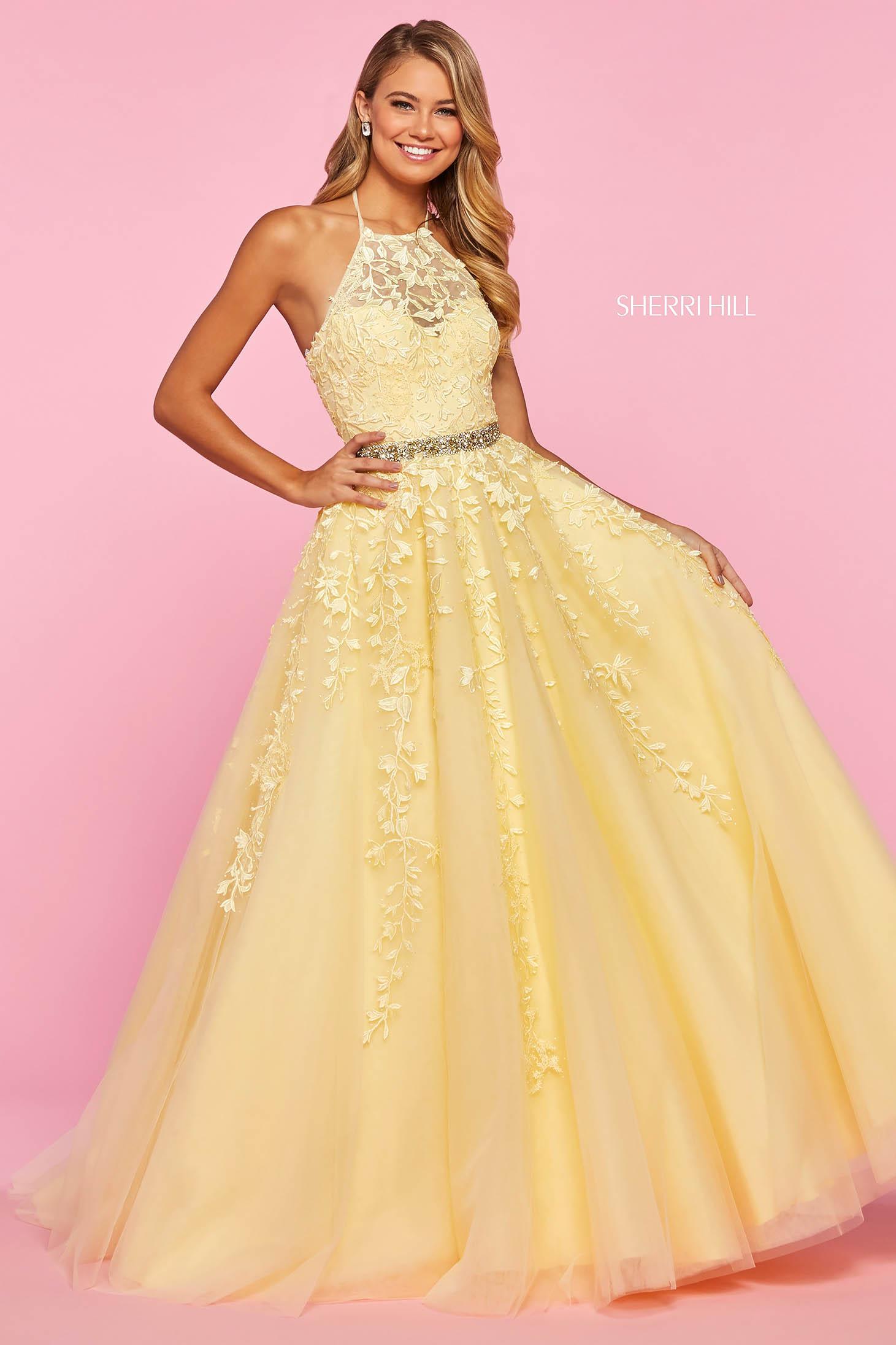 Rochie Sherri Hill 53371 yellow