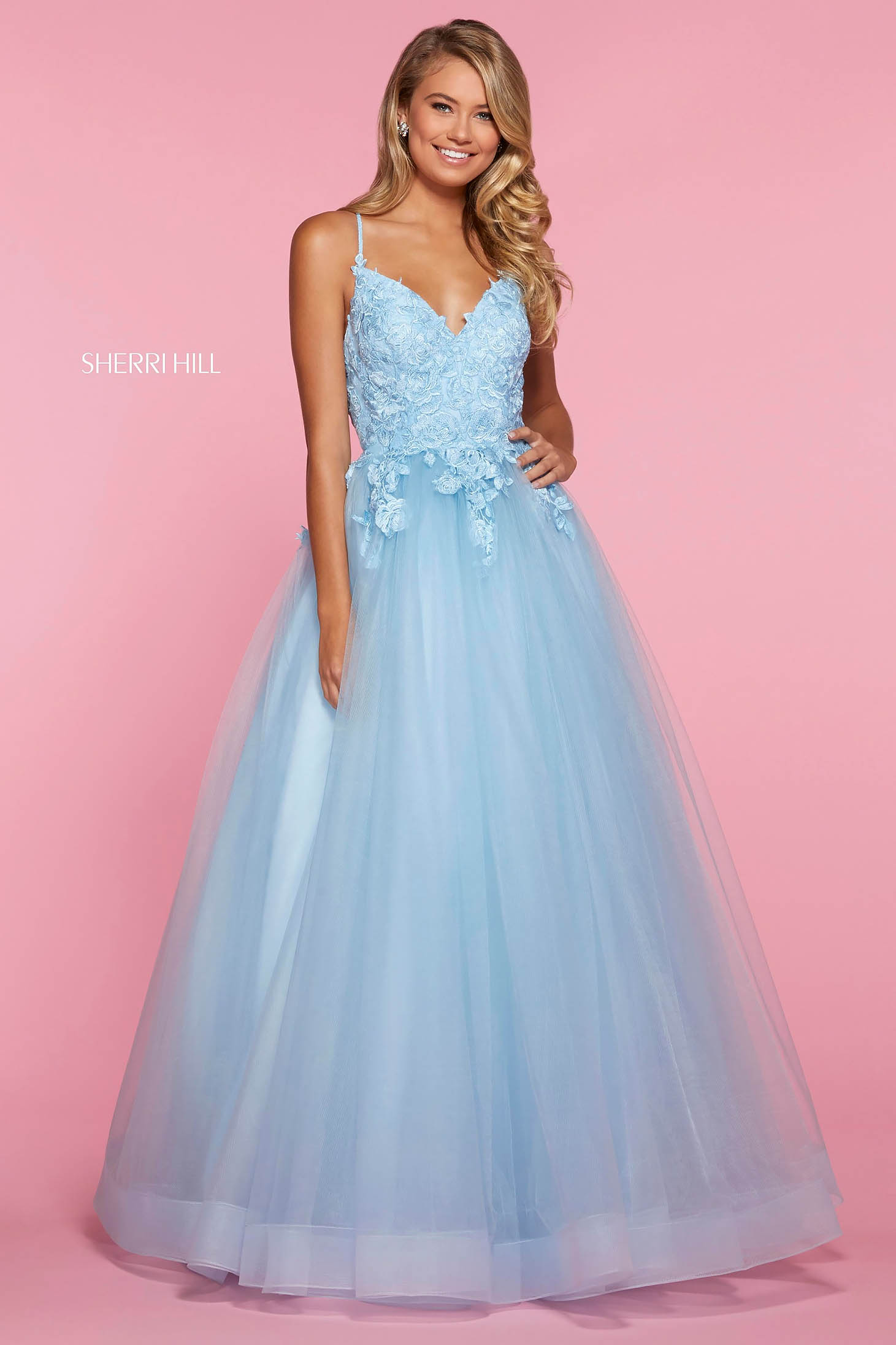 Rochie Sherri Hill 53411 light blue