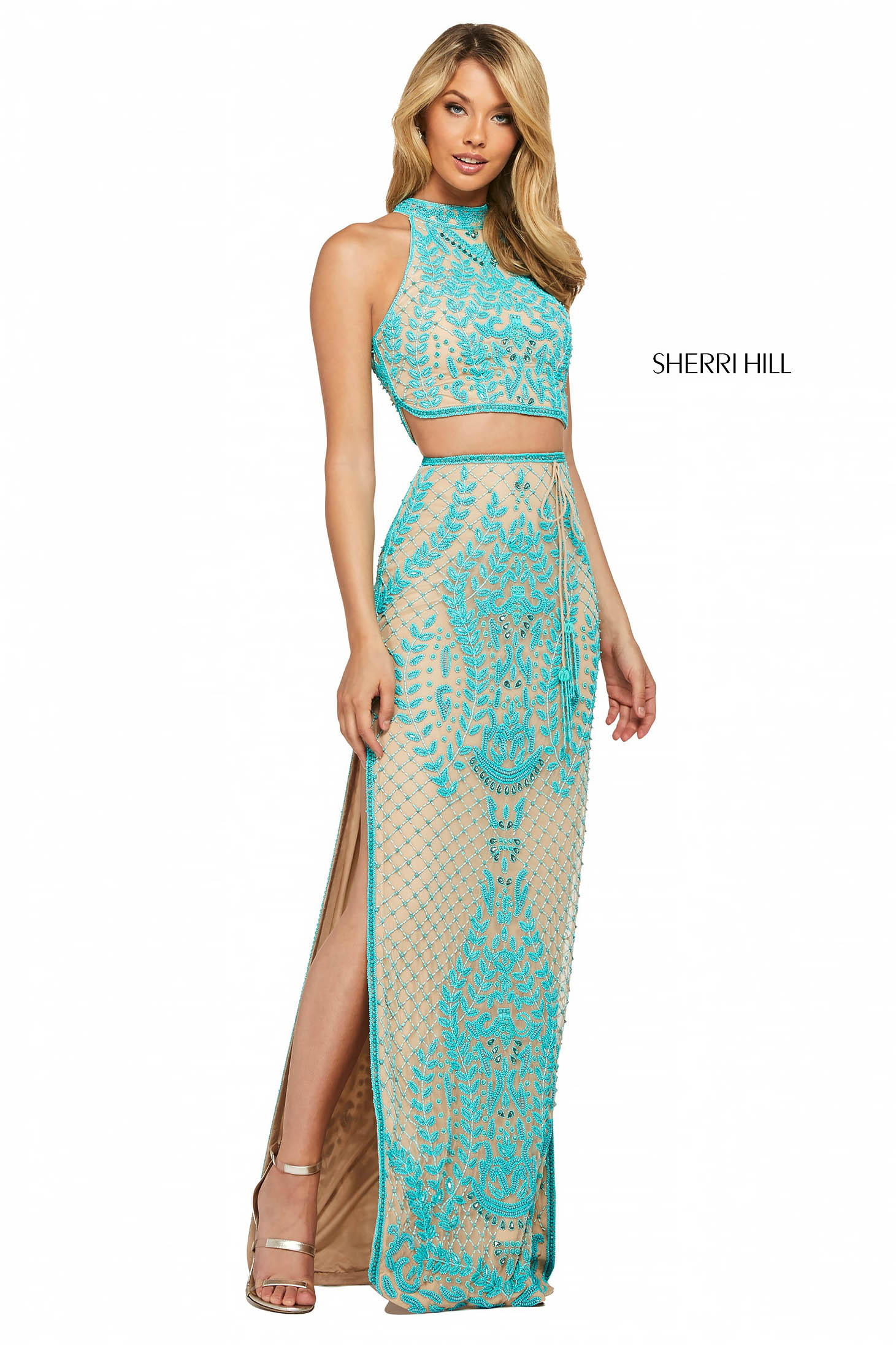 Rochie Sherri Hill 53436 nude/turquoise