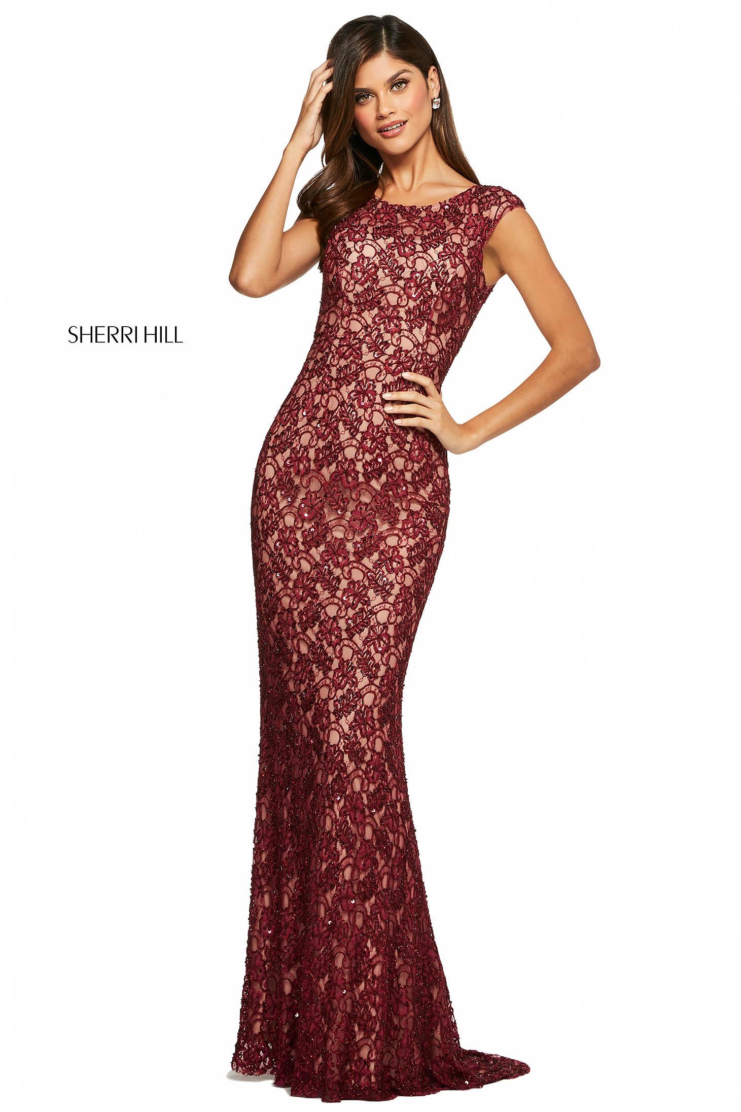 Rochie Sherri Hill 53446 burgundy