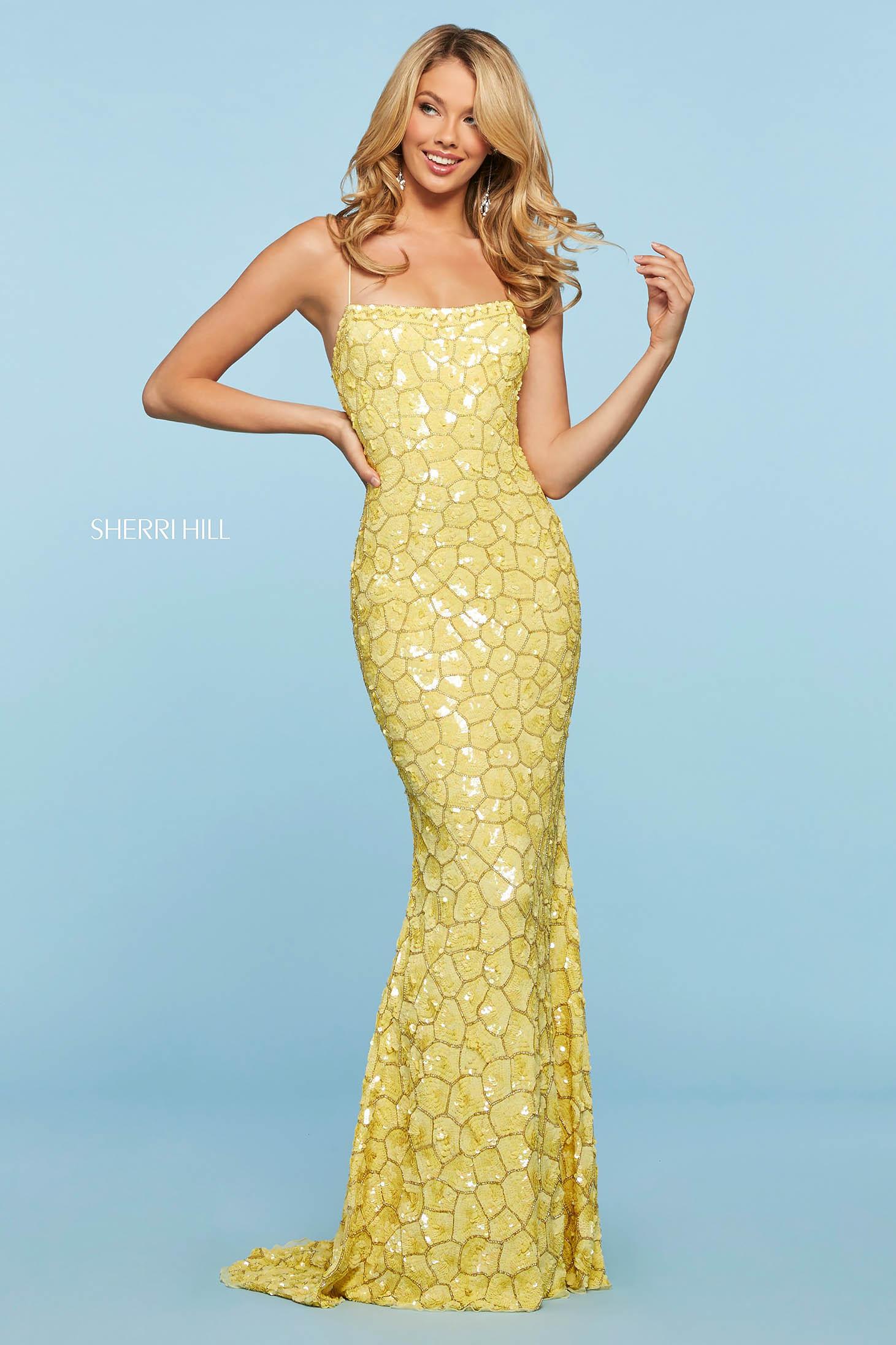 Rochie Sherri Hill 53456 yellow