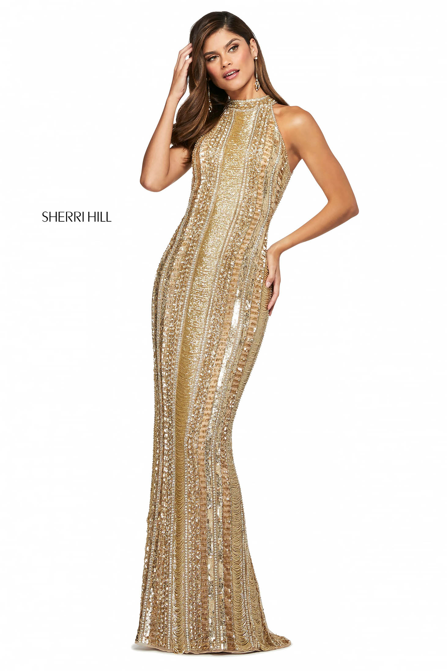 Rochie Sherri Hill 53457 gold