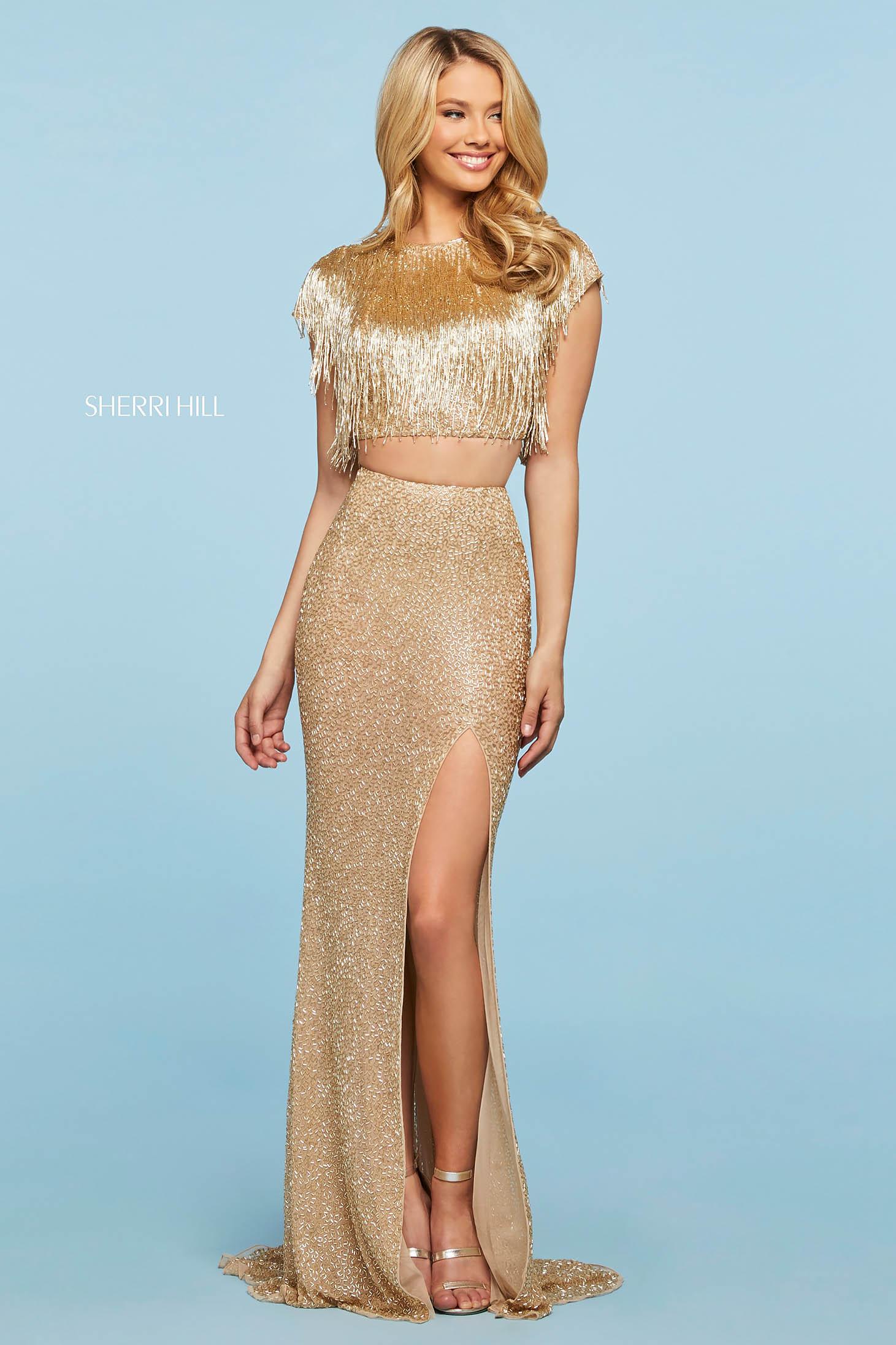 Rochie Sherri Hill 53458 gold