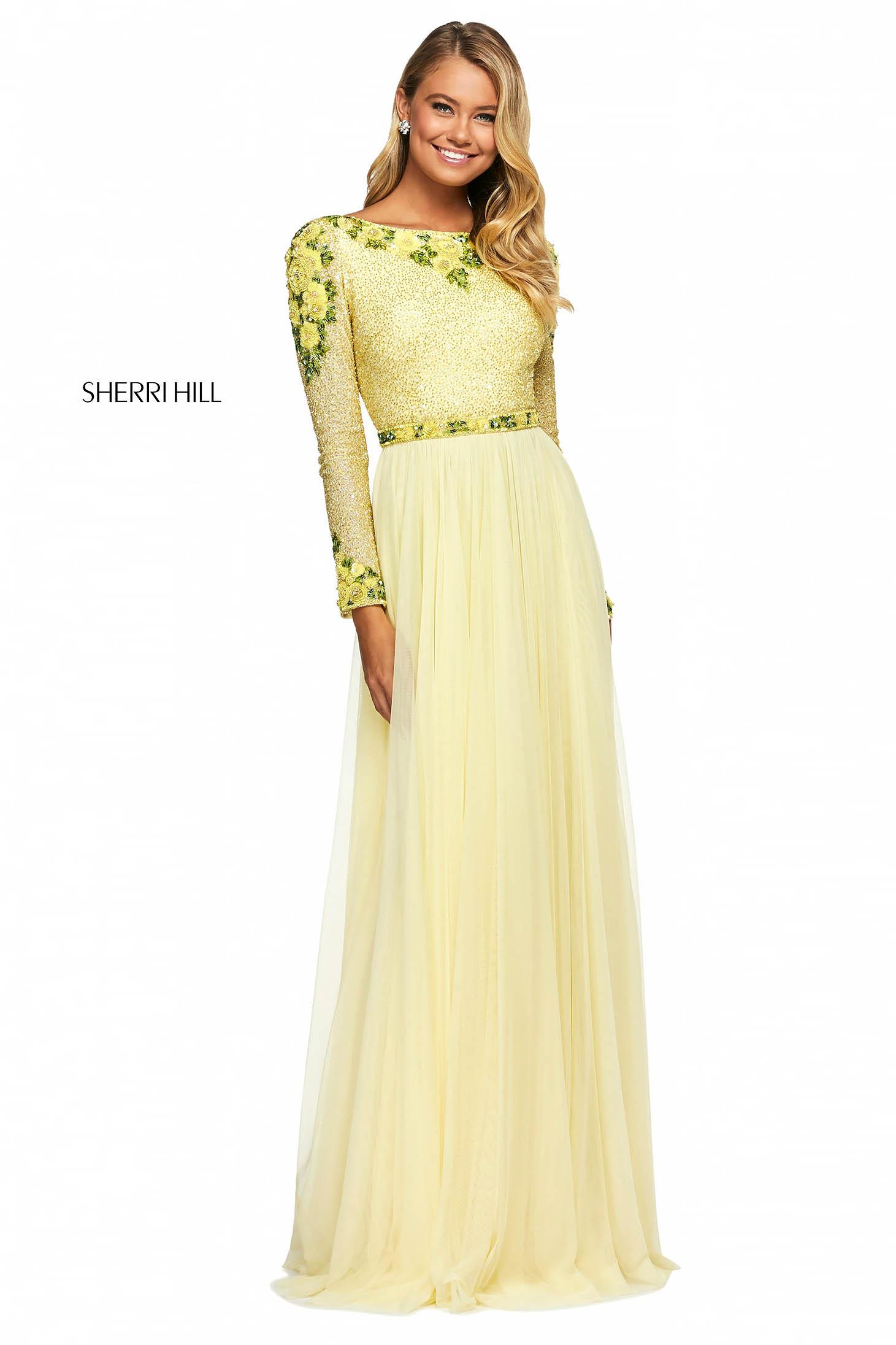 Rochie Sherri Hill 53485 yellow/green
