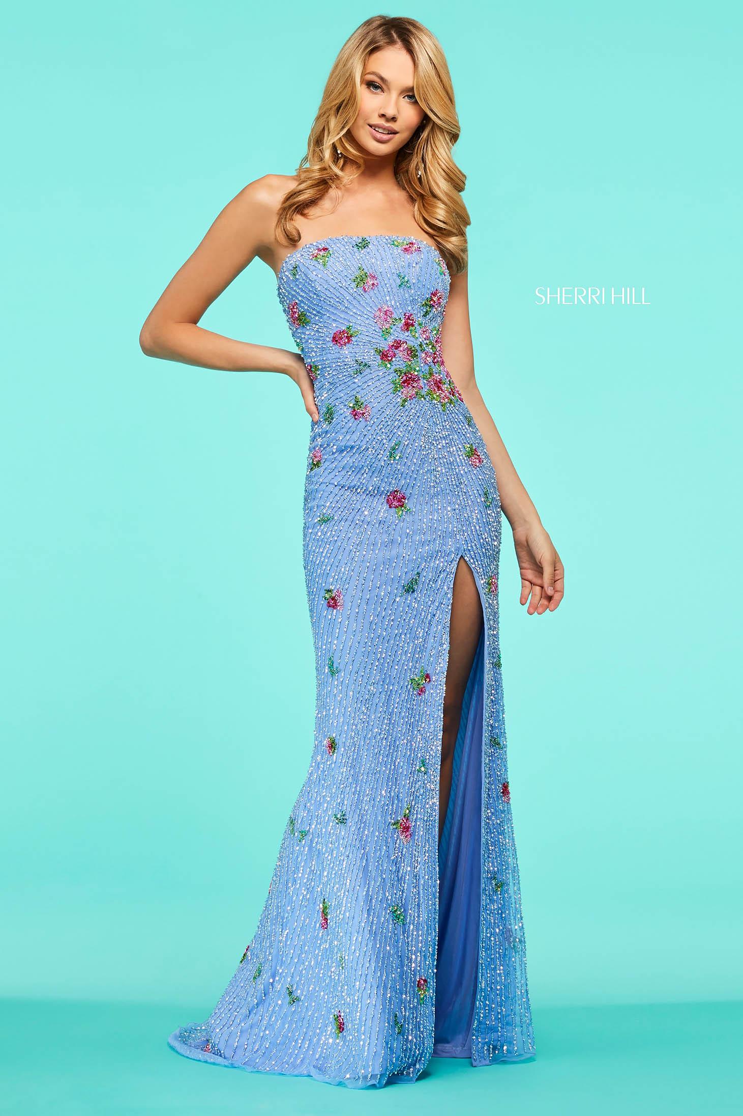 Rochie Sherri Hill 53488 light blue/multi