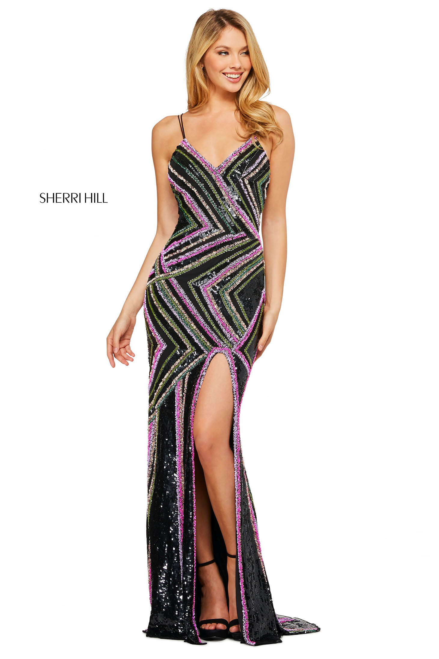 Rochie Sherri Hill 53572 black/multi