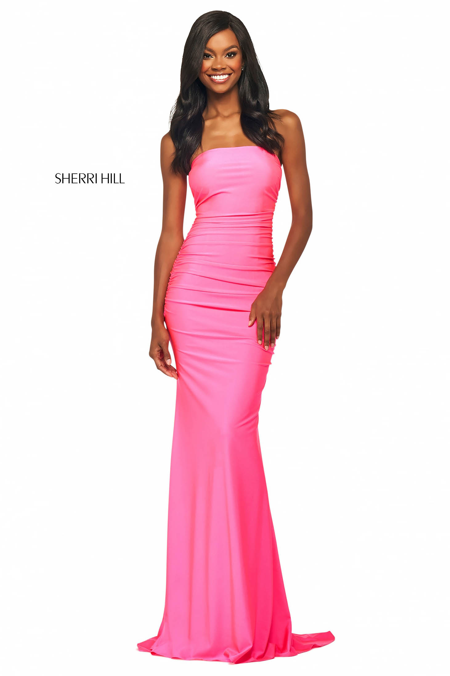 Rochie Sherri Hill 53596 candy pink