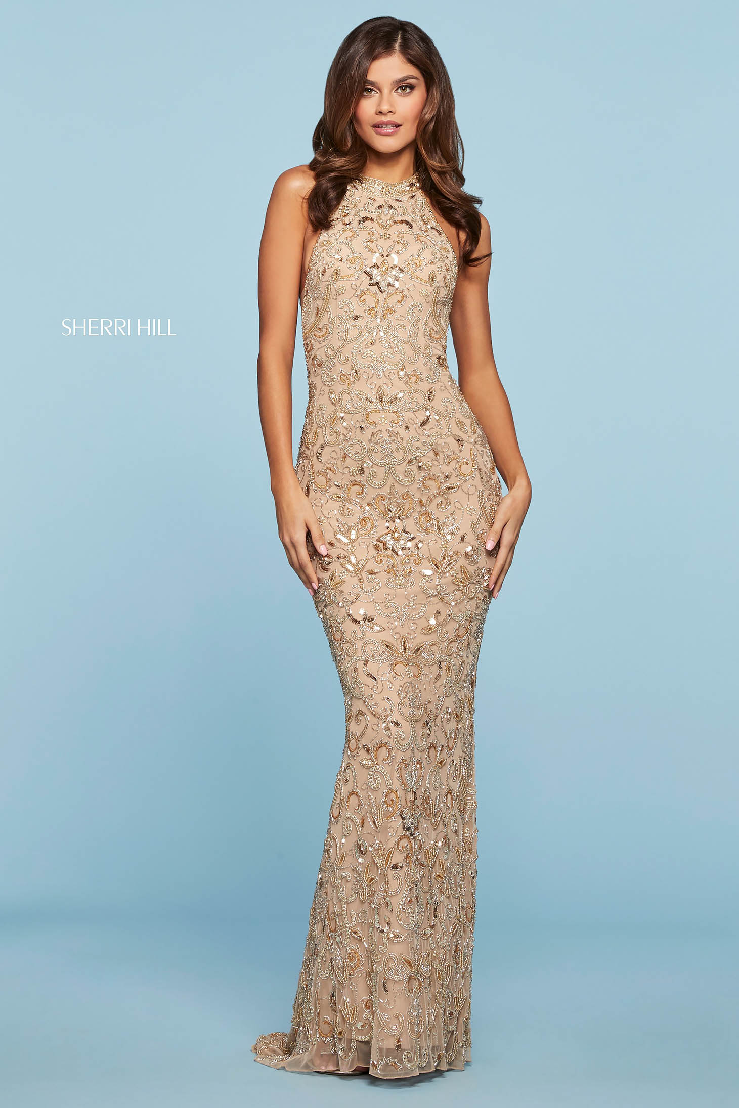 Rochie Sherri Hill 53609 nude/gold/silver