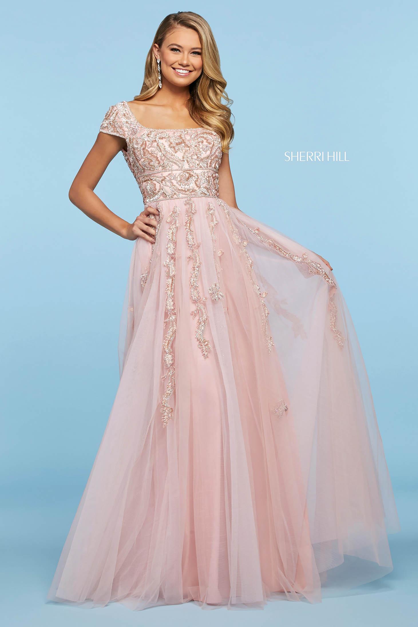 Rochie Sherri Hill 53623 blush