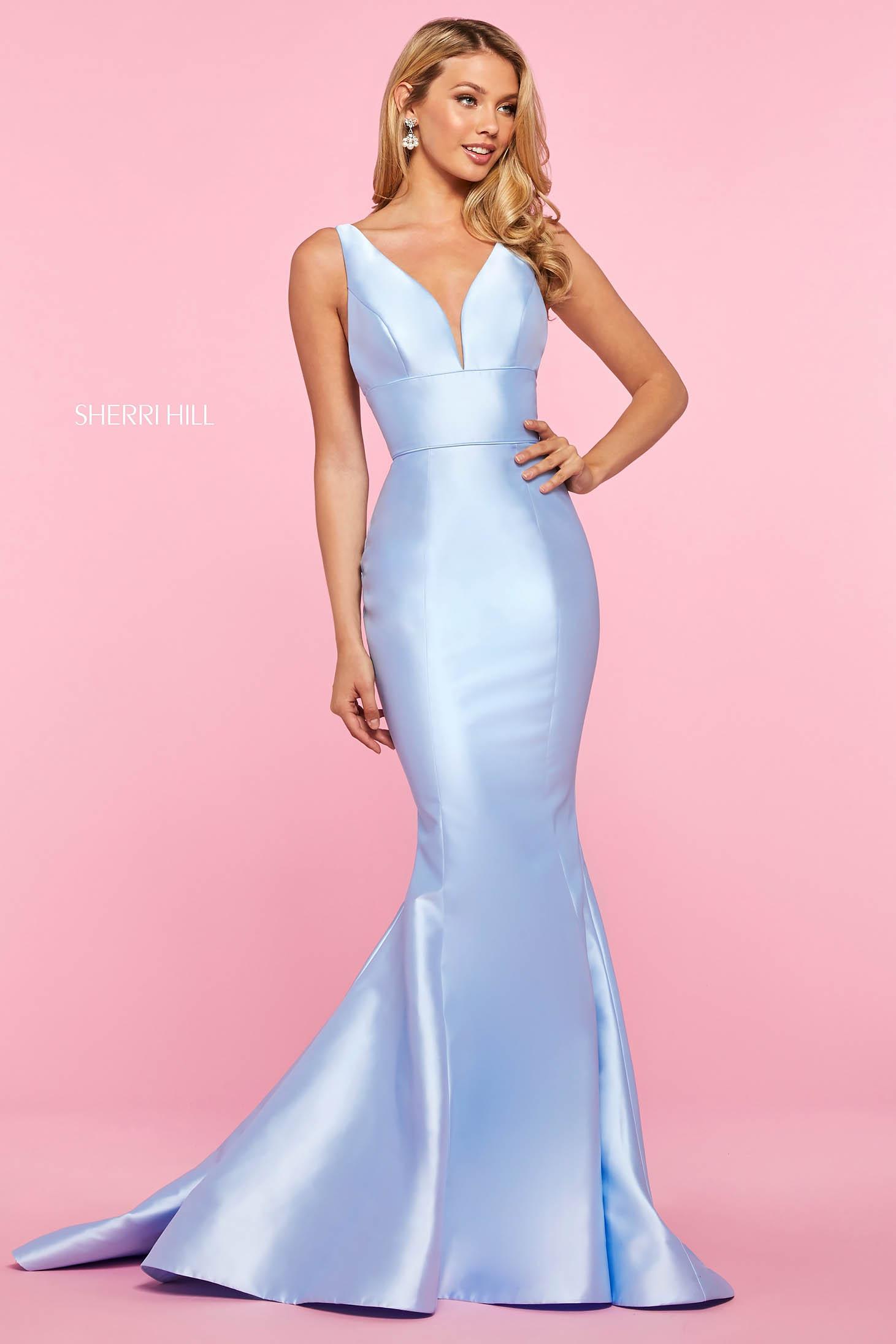 Rochie Sherri Hill 53660 light blue