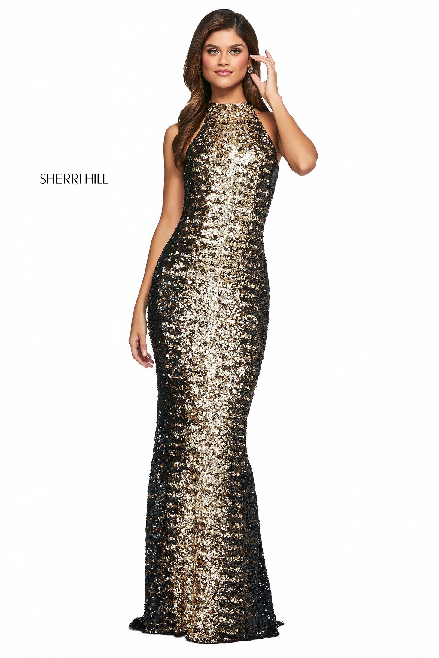 Rochie Sherri Hill 53667 black/copper/gold