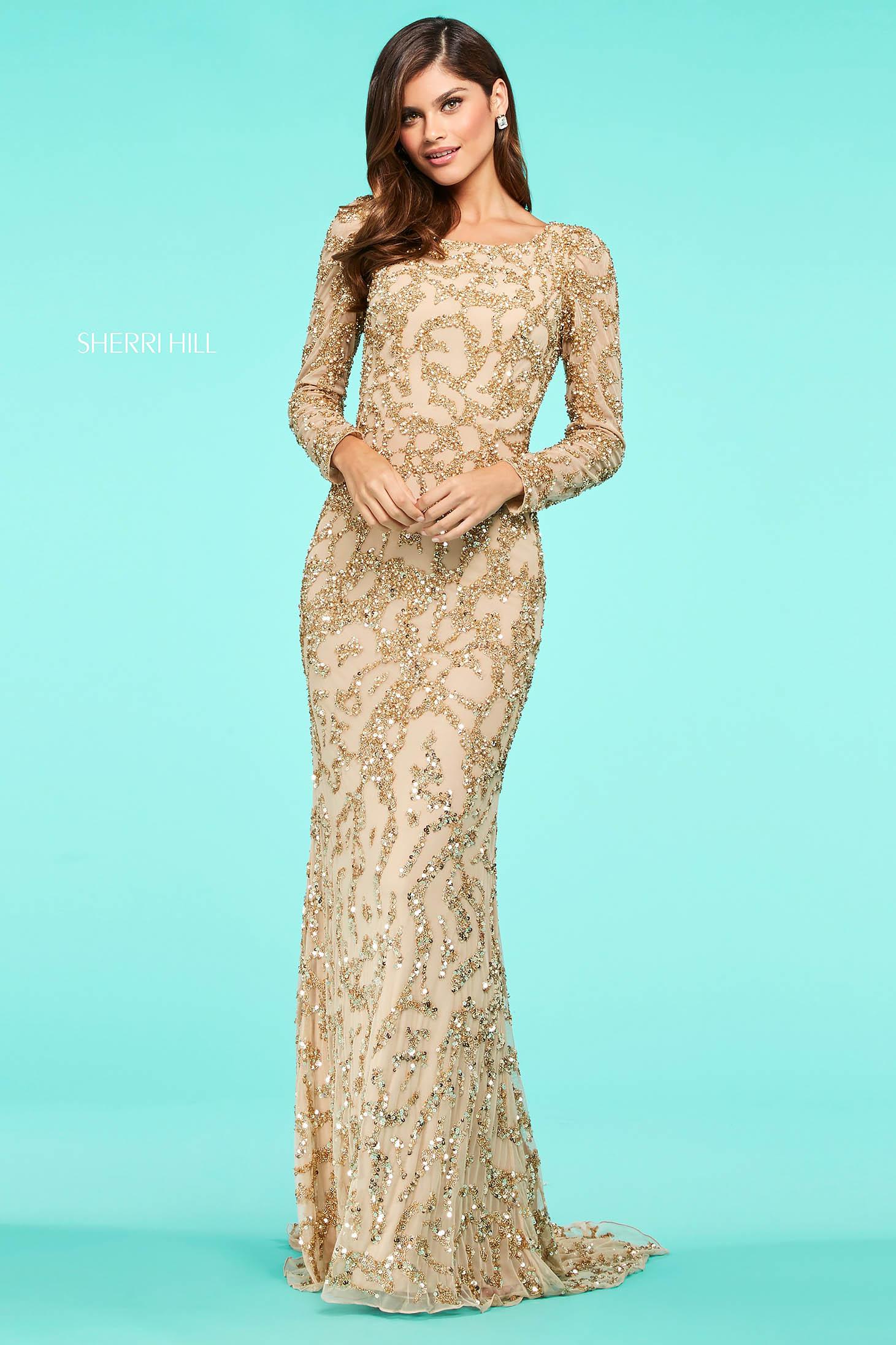 Rochie Sherri Hill 53670 gold