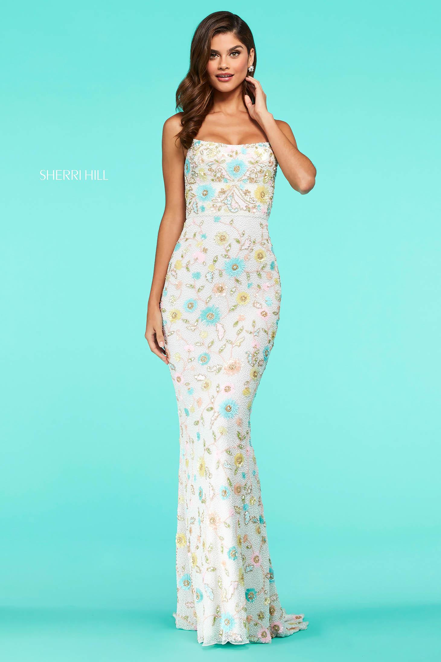 Rochie Sherri Hill 53673 nude/multi