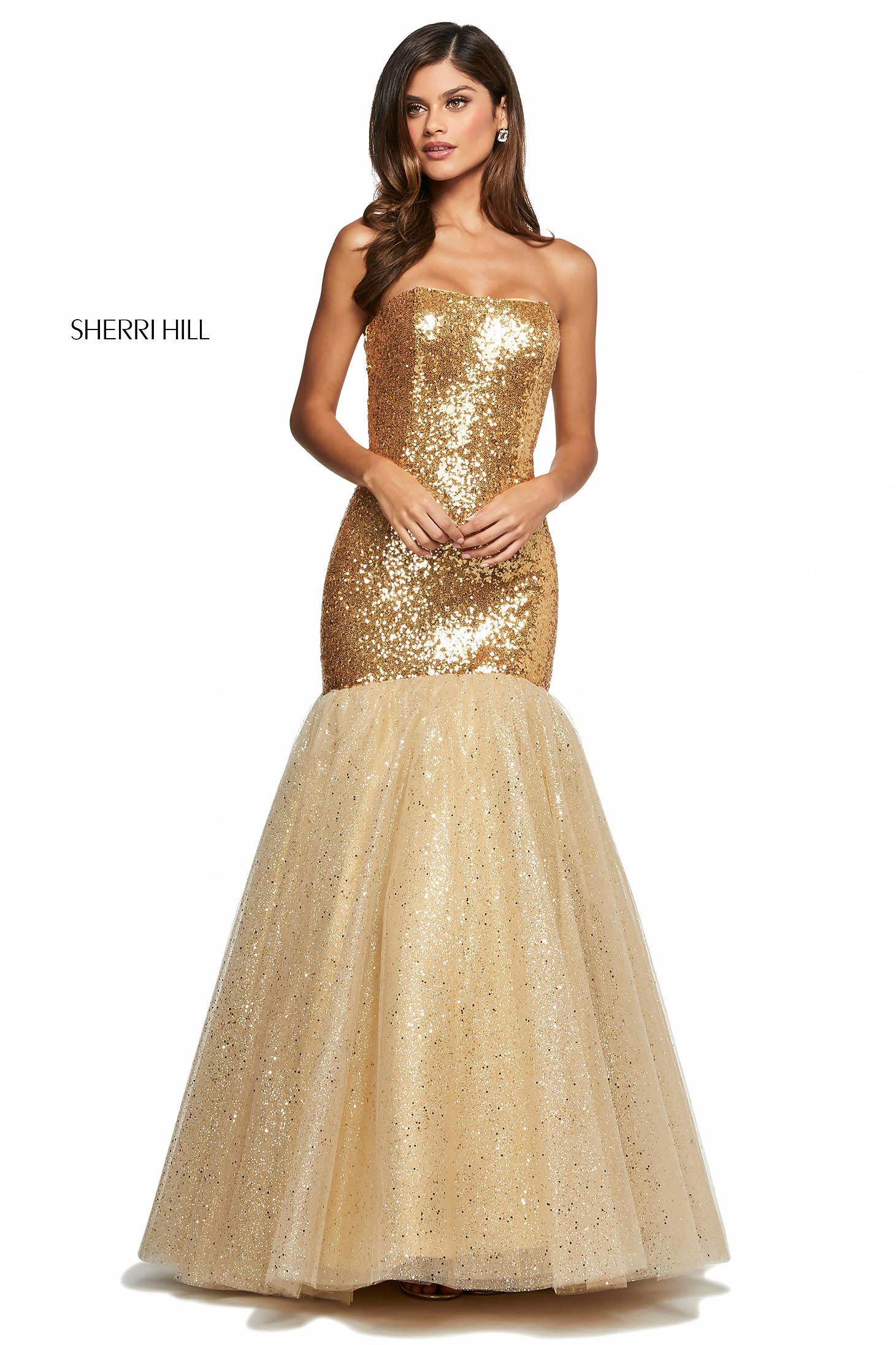 Rochie Sherri Hill 53680 gold
