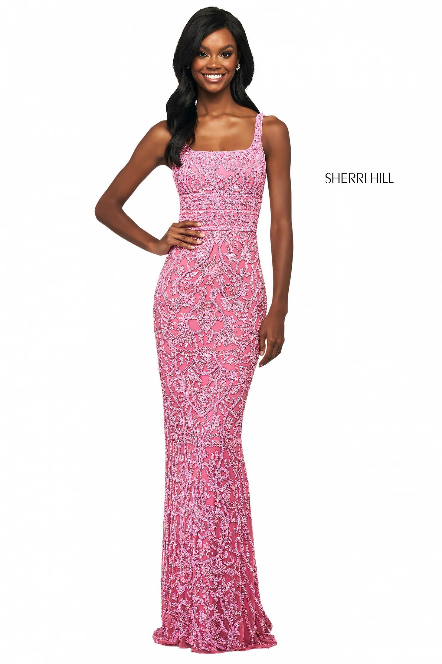 Rochie Sherri Hill 53691 bright pink