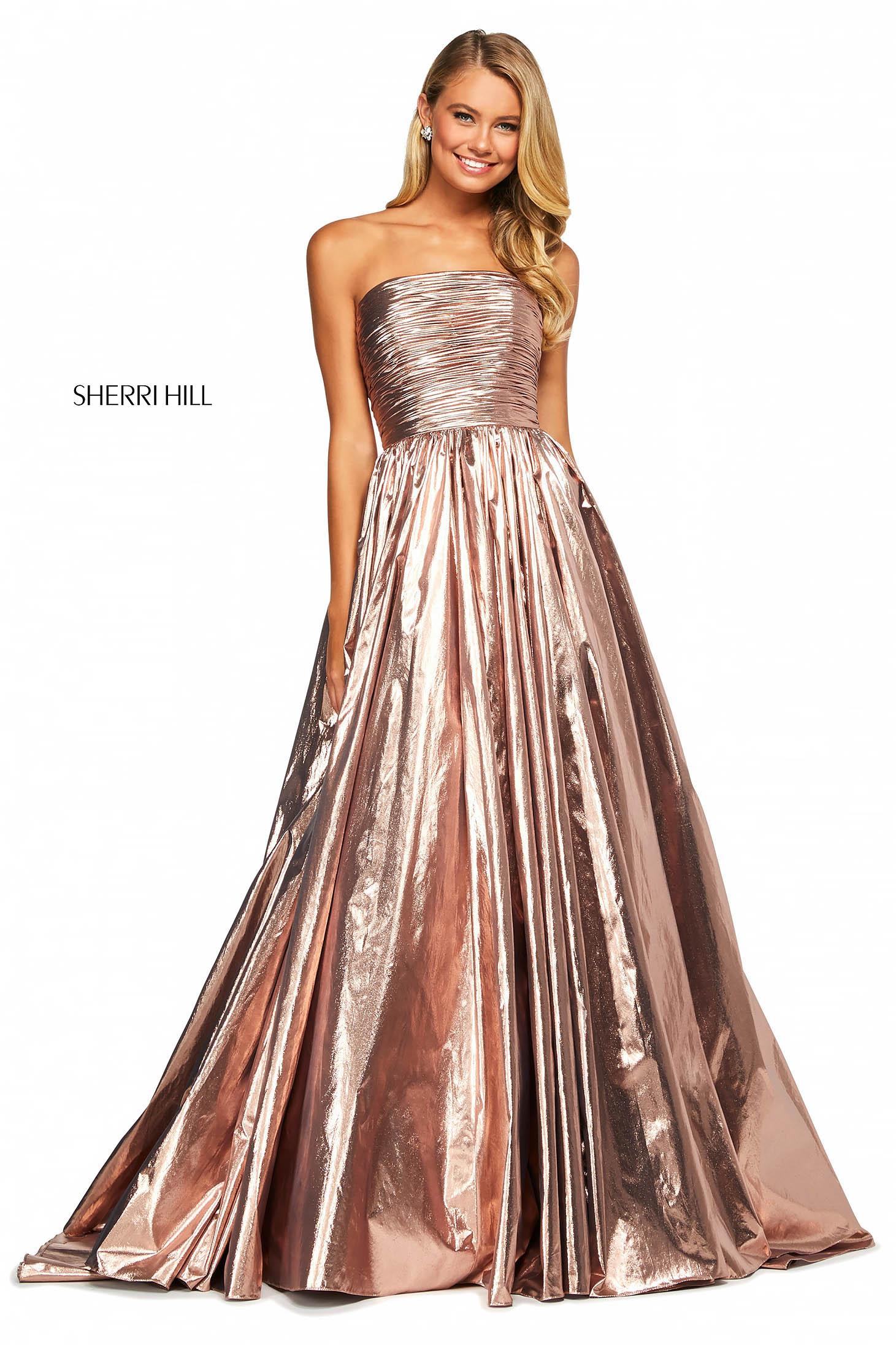 Rochie Sherri Hill 53693 gold