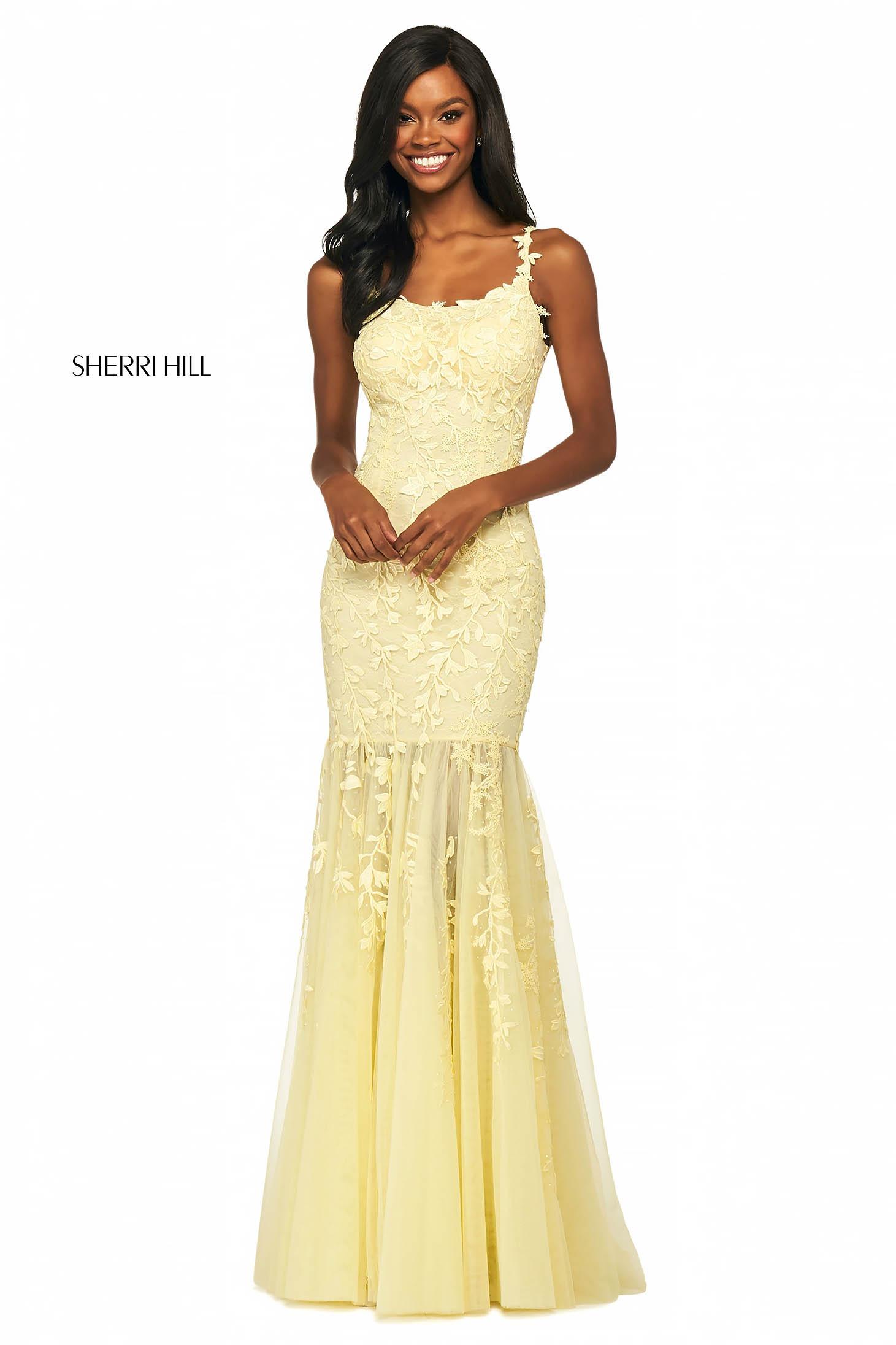 Rochie Sherri Hill 53723 yellow