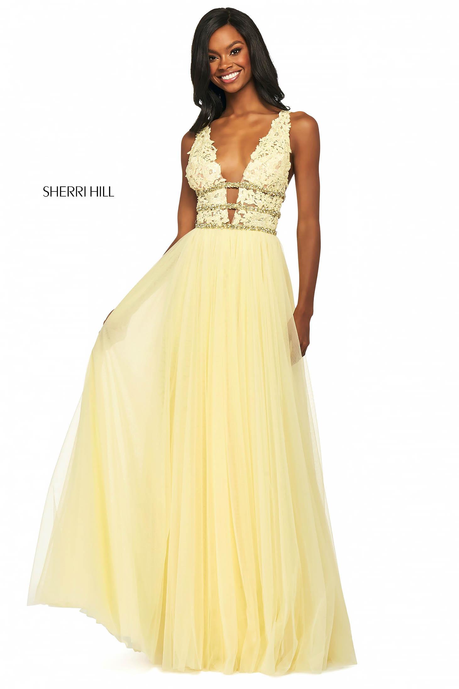 Rochie Sherri Hill 53806 yellow