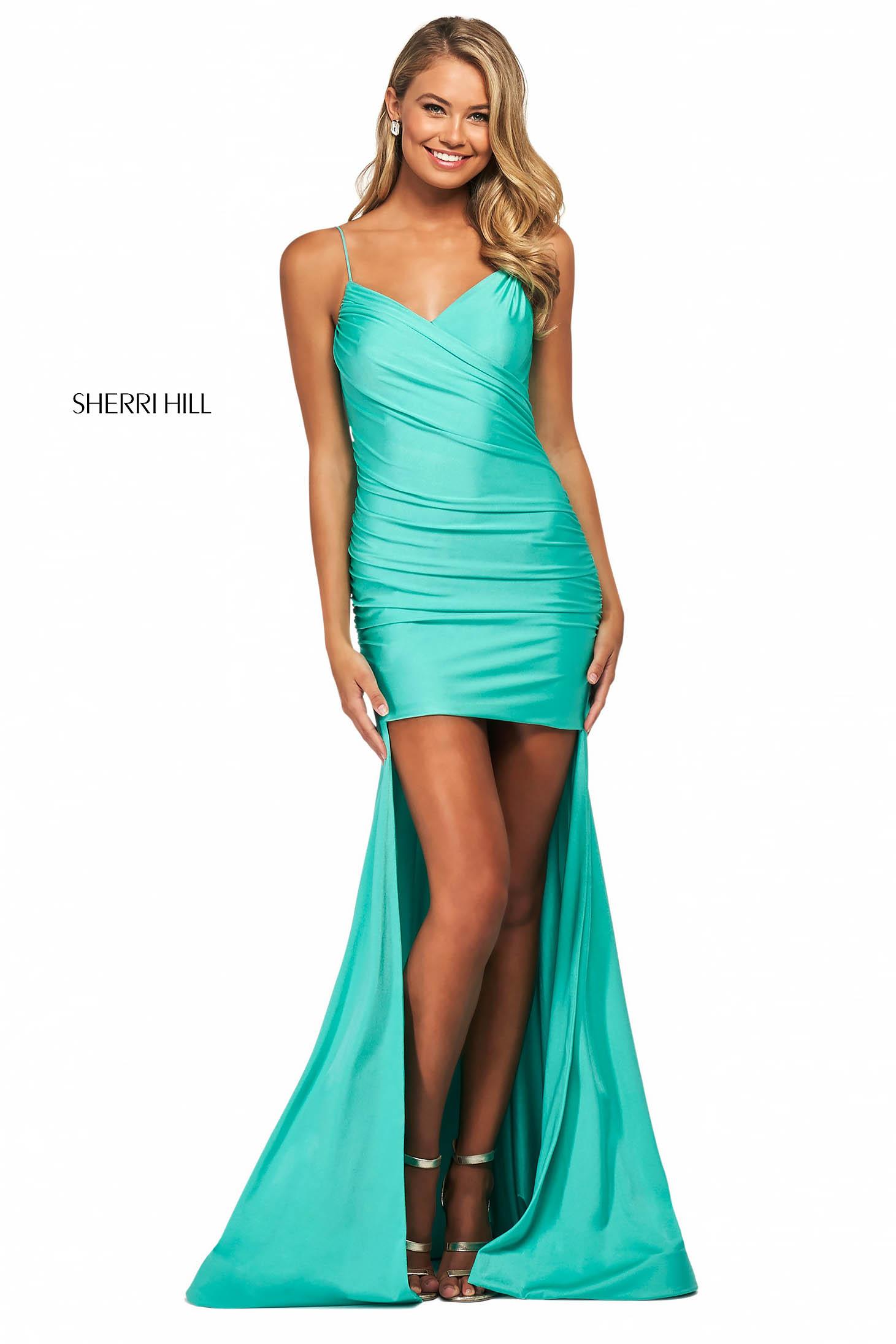 Rochie Sherri Hill 53809 aqua