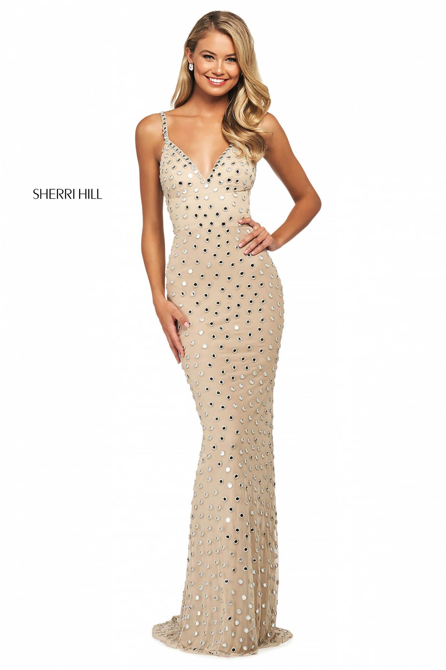 Rochie Sherri Hill 53813 nude/silver