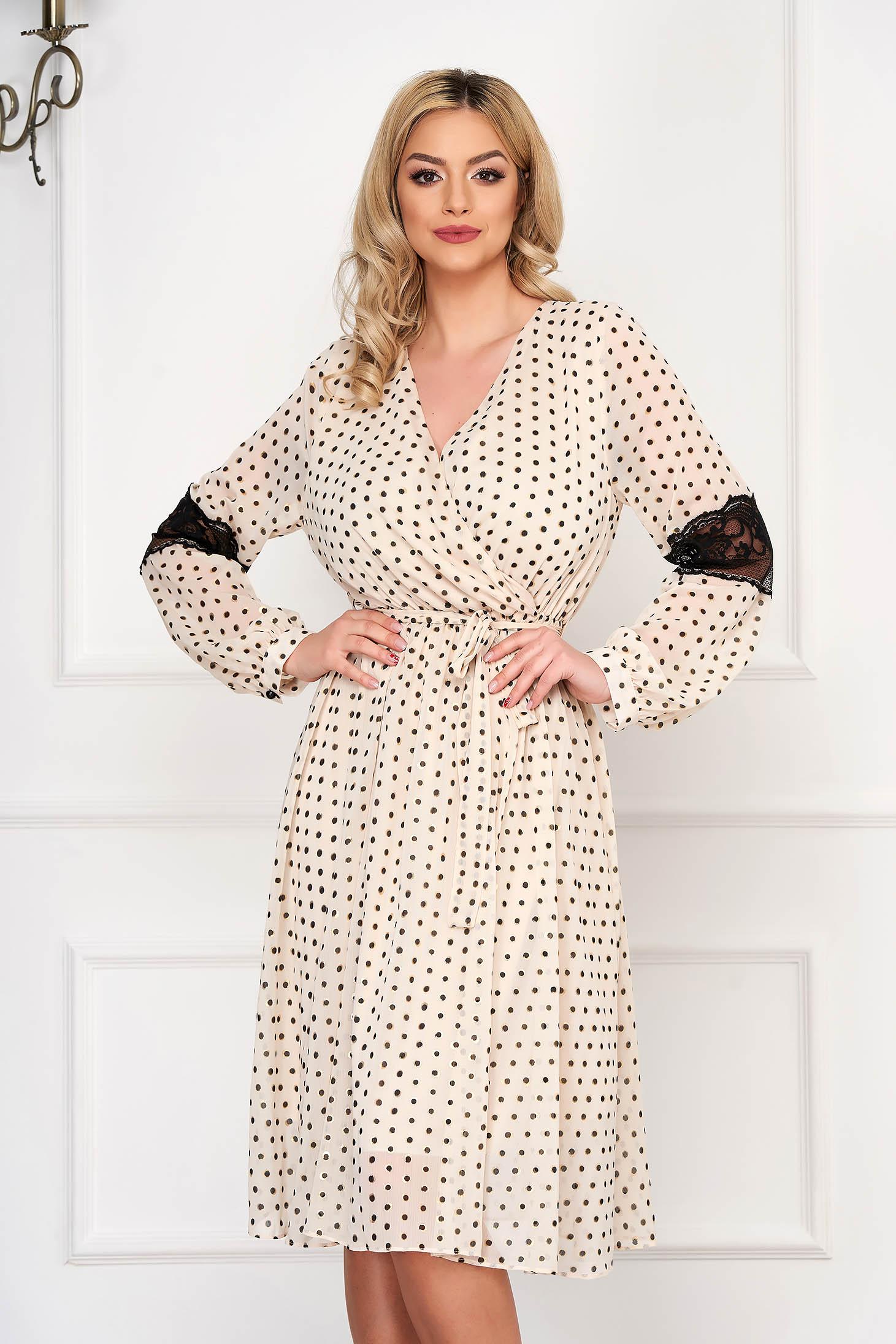 Ivory dress elegant midi cloche dots print thin fabric