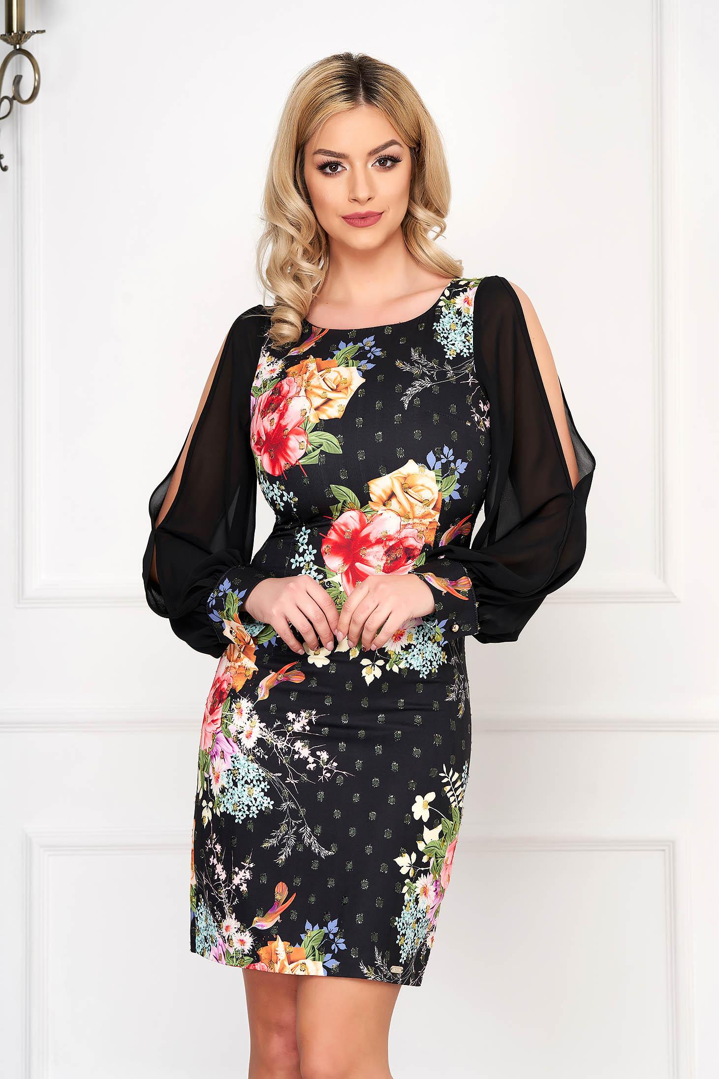 Black dress elegant short cut pencil with veil sleeves with floral print