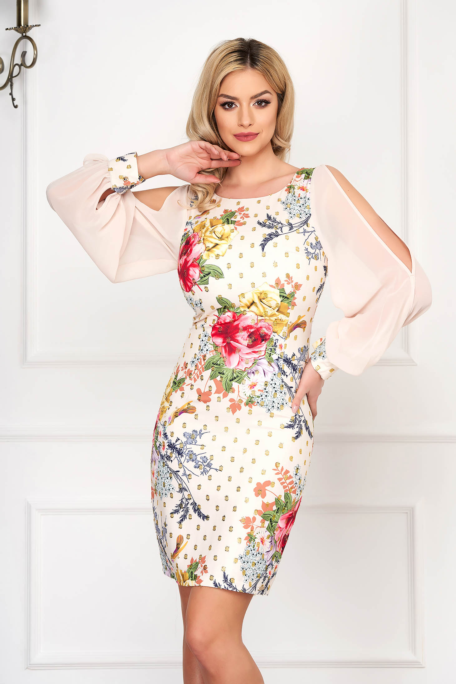 Cream dress elegant short cut pencil with veil sleeves with floral print