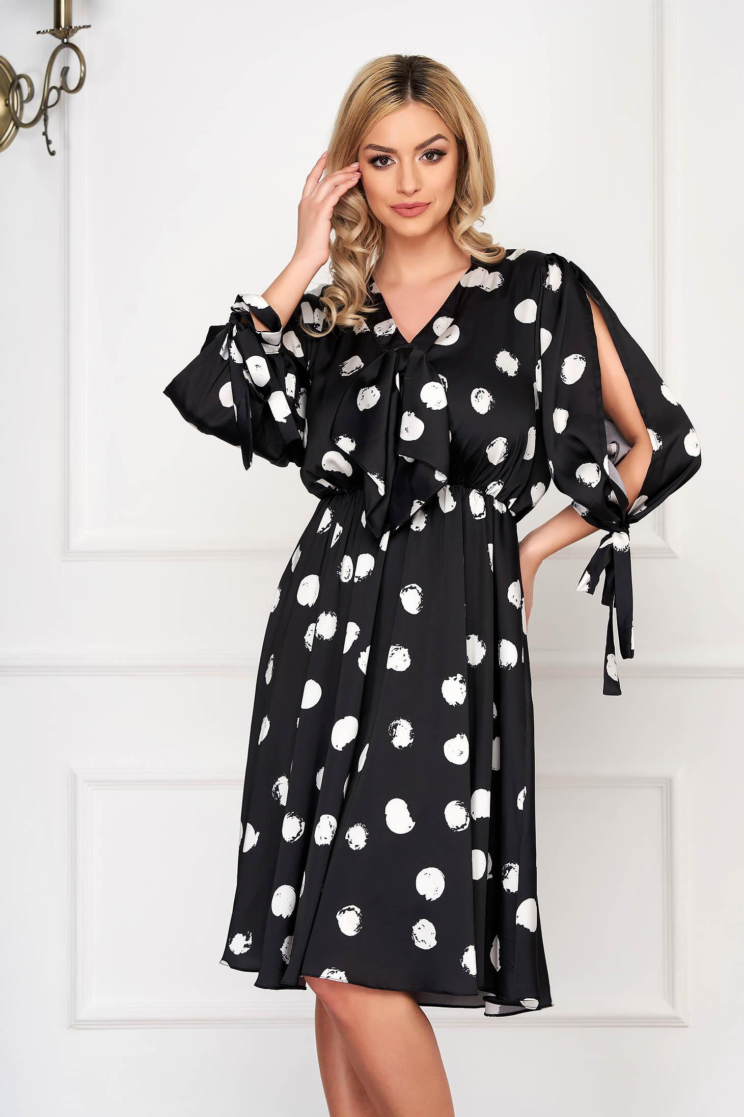 Black dress elegant midi cloche dots print from satin with elastic waist